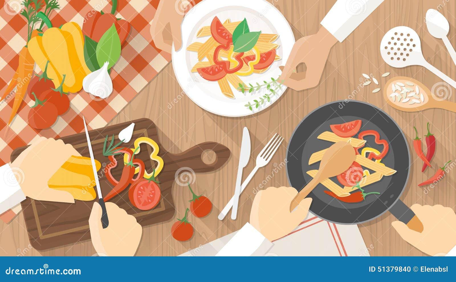 Szefowie Kuchni Przy Pracą W Kuchni Ilustracja Wektor