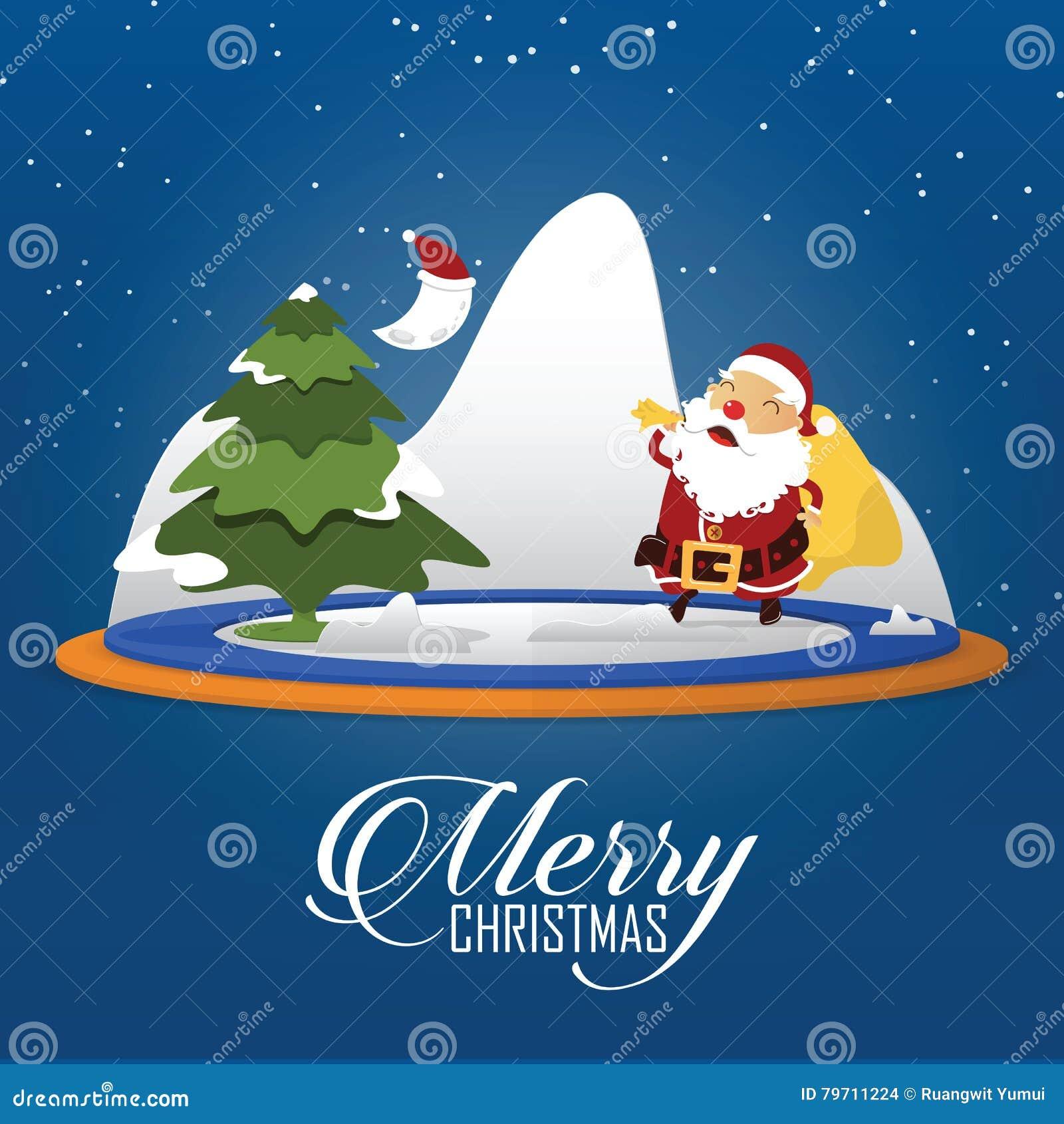 Szene Der Frohen Weihnachten Mit Tragendem Sack Santa Clauss Voll ...