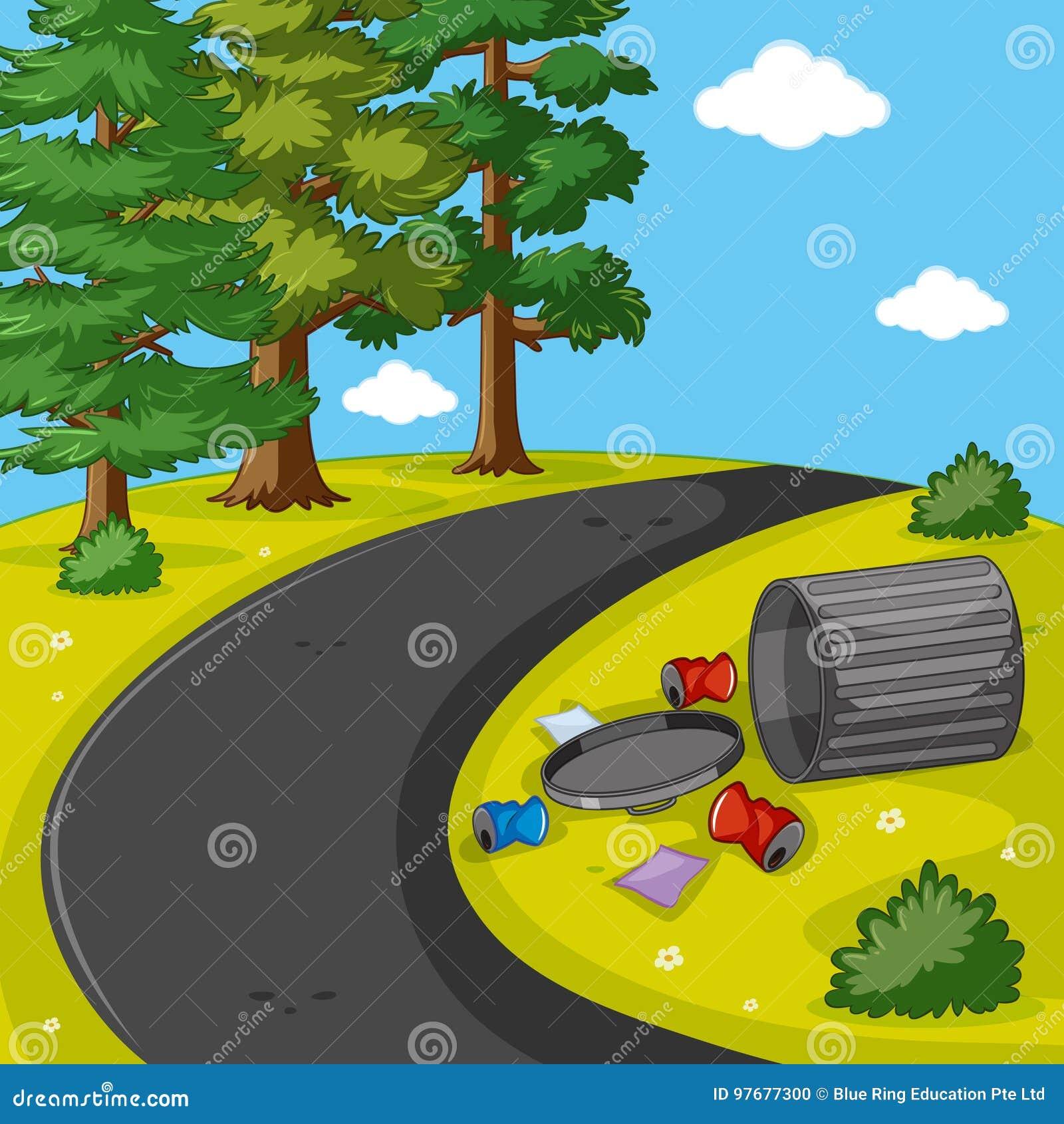 Szene mit Abfall im Park