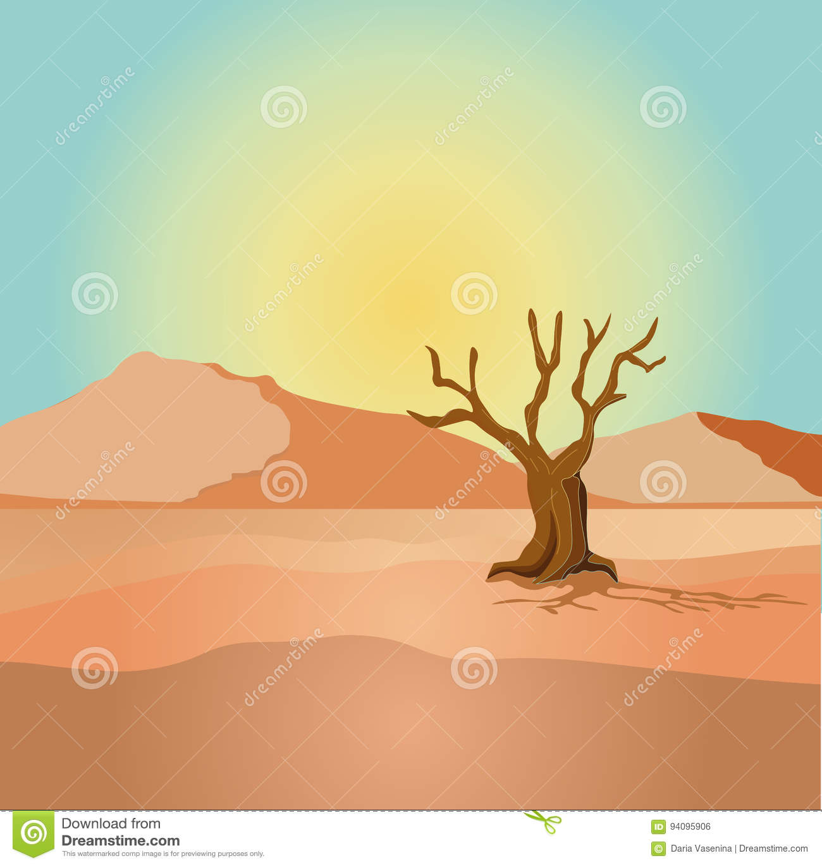 Szene mit getrocknetem Baum in der Wüstenfeldillustration