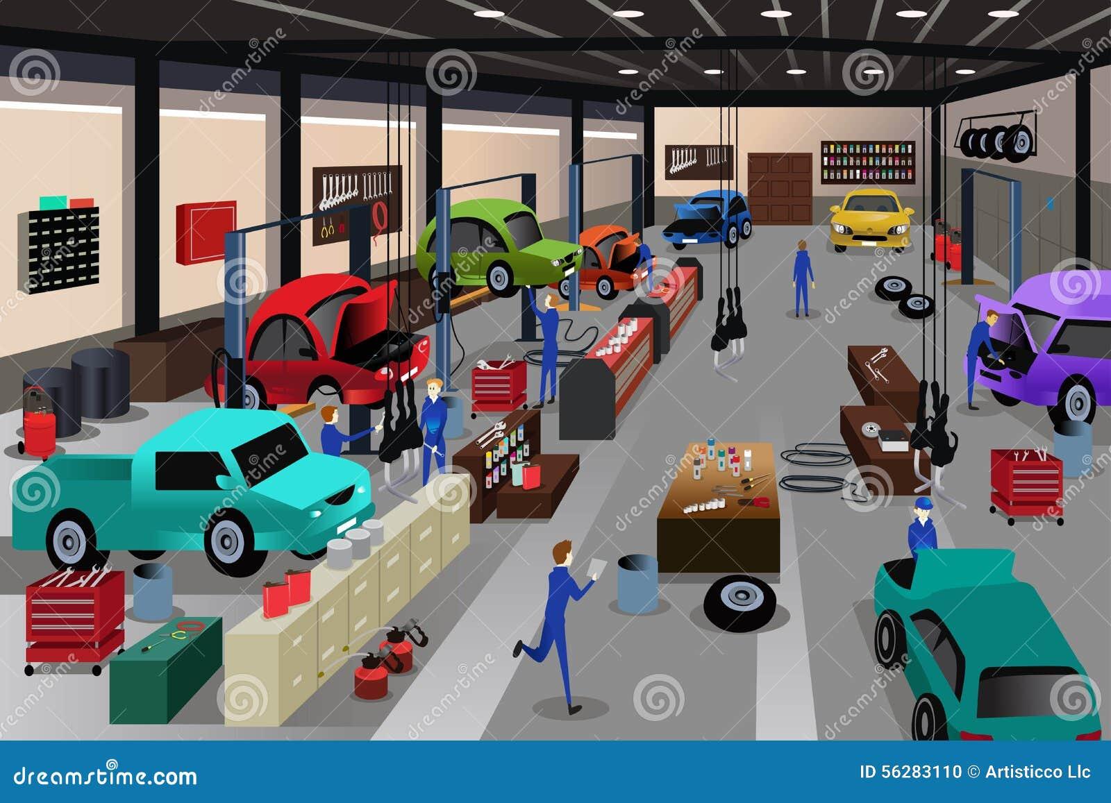 Szenen in einer Auto-Werkstatt