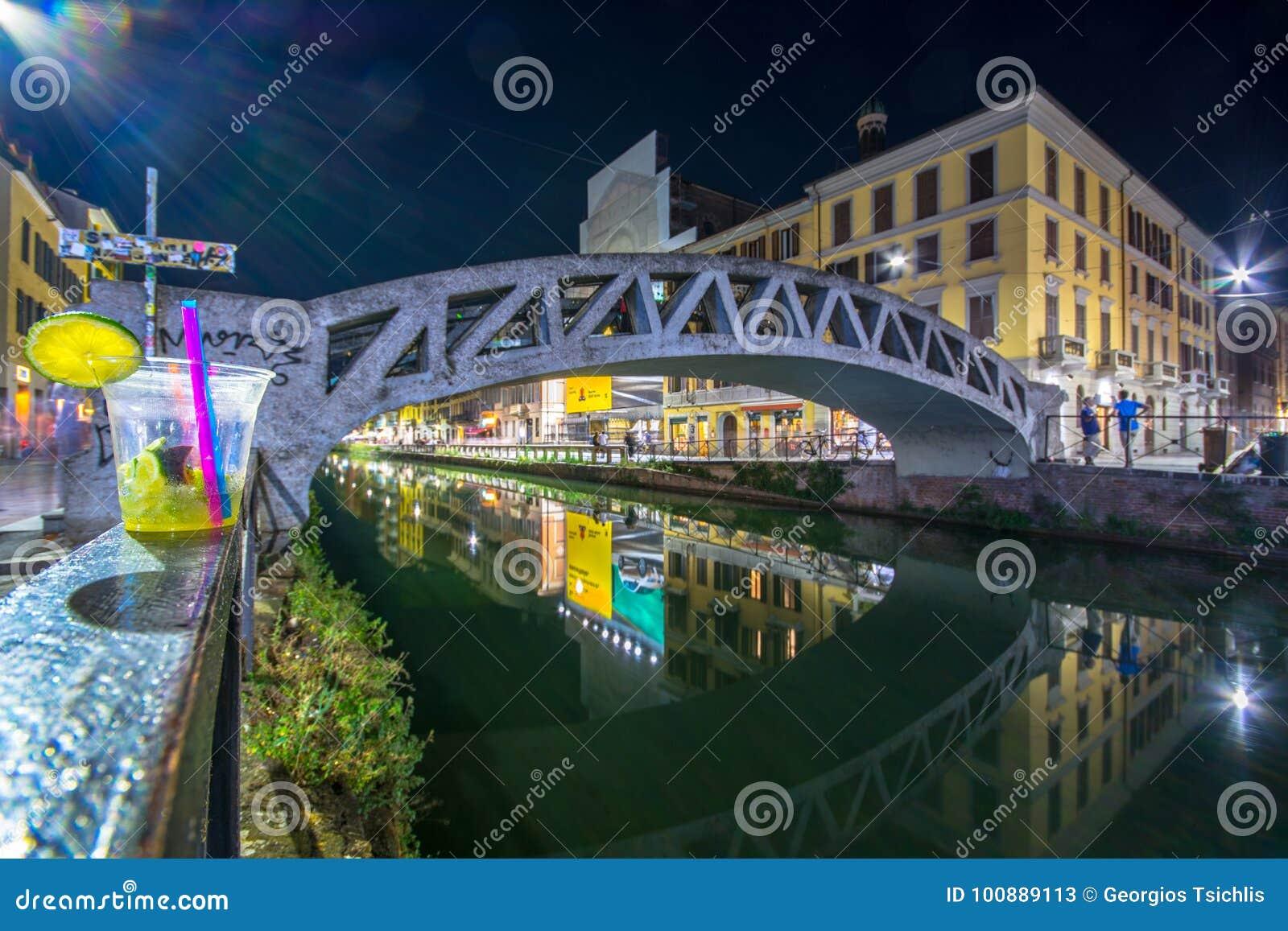 Szenisches Naviglio-Canal Grande in Mailand, Lombardia, Italien