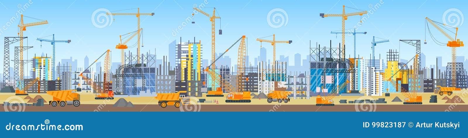 Szeroki kierowniczy sztandar miasto linii horyzontu budowy proces Basztowi żurawie na budowie Budynki w budowie