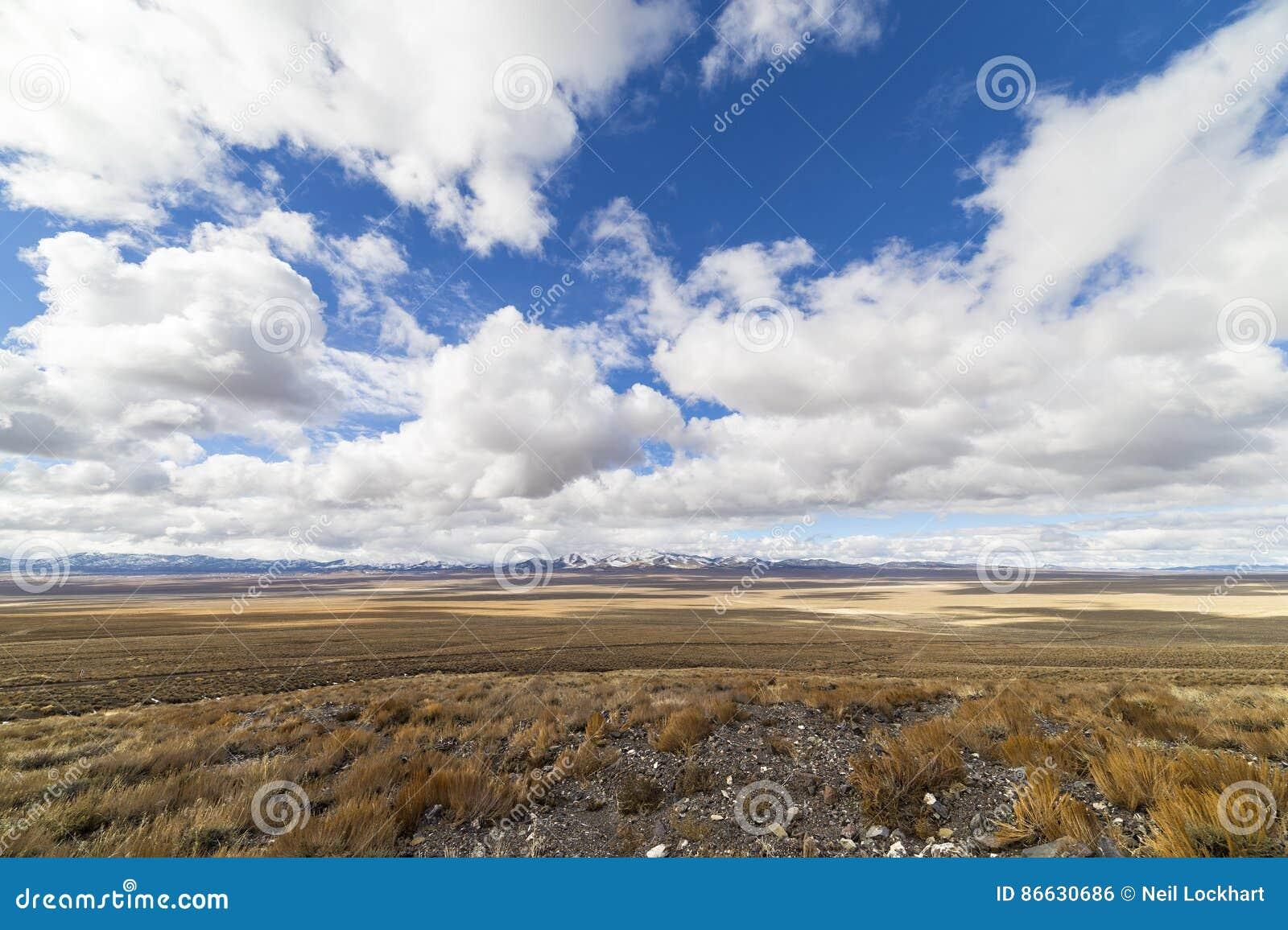 Szeroko otwarty pusty pustynia krajobraz w Nevada podczas zimy z niebieskimi niebami i chmurami