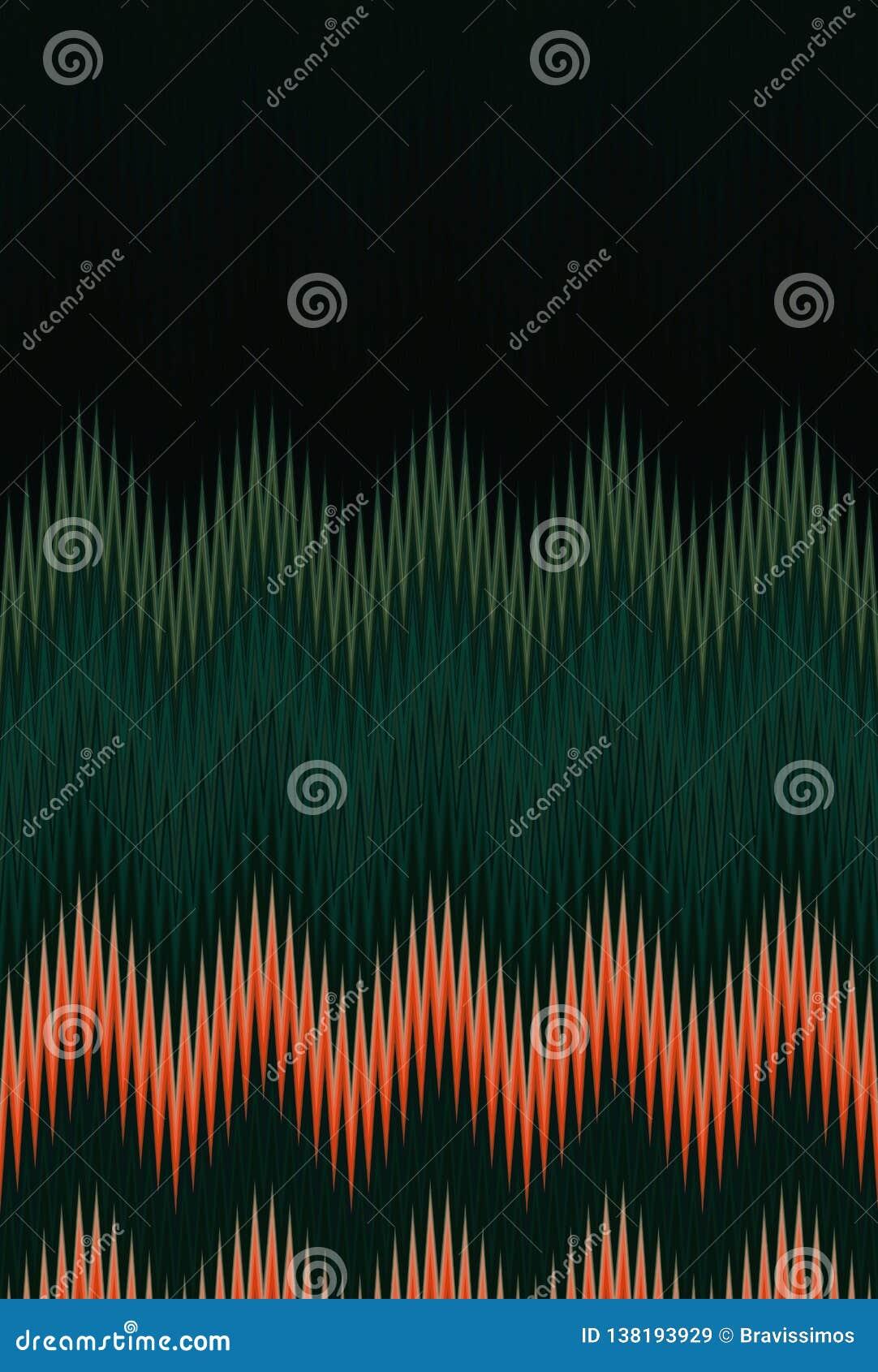 Szewronu zygzag fala abstrakcjonistycznej sztuki ciemnozielony deseniowy tło wykazywać tendencję