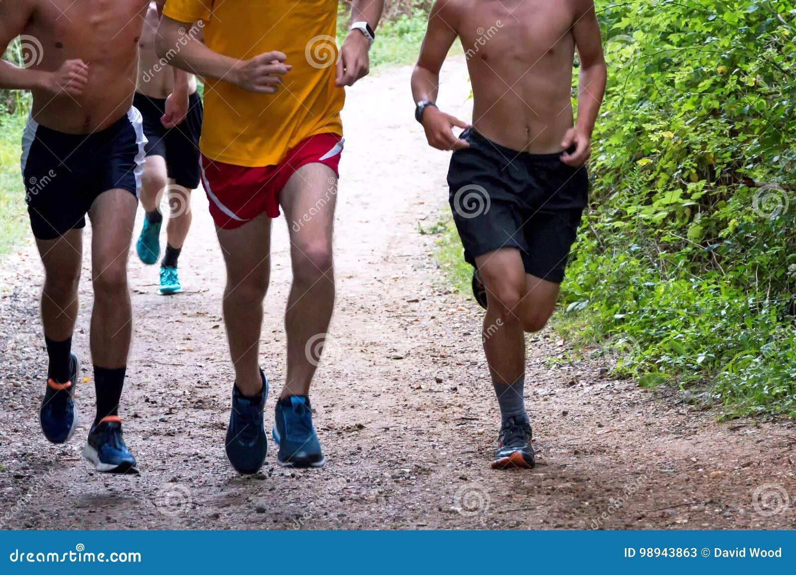 Szkół średnich chłopiec przecinającego kraju biegacze biega na ścieżce