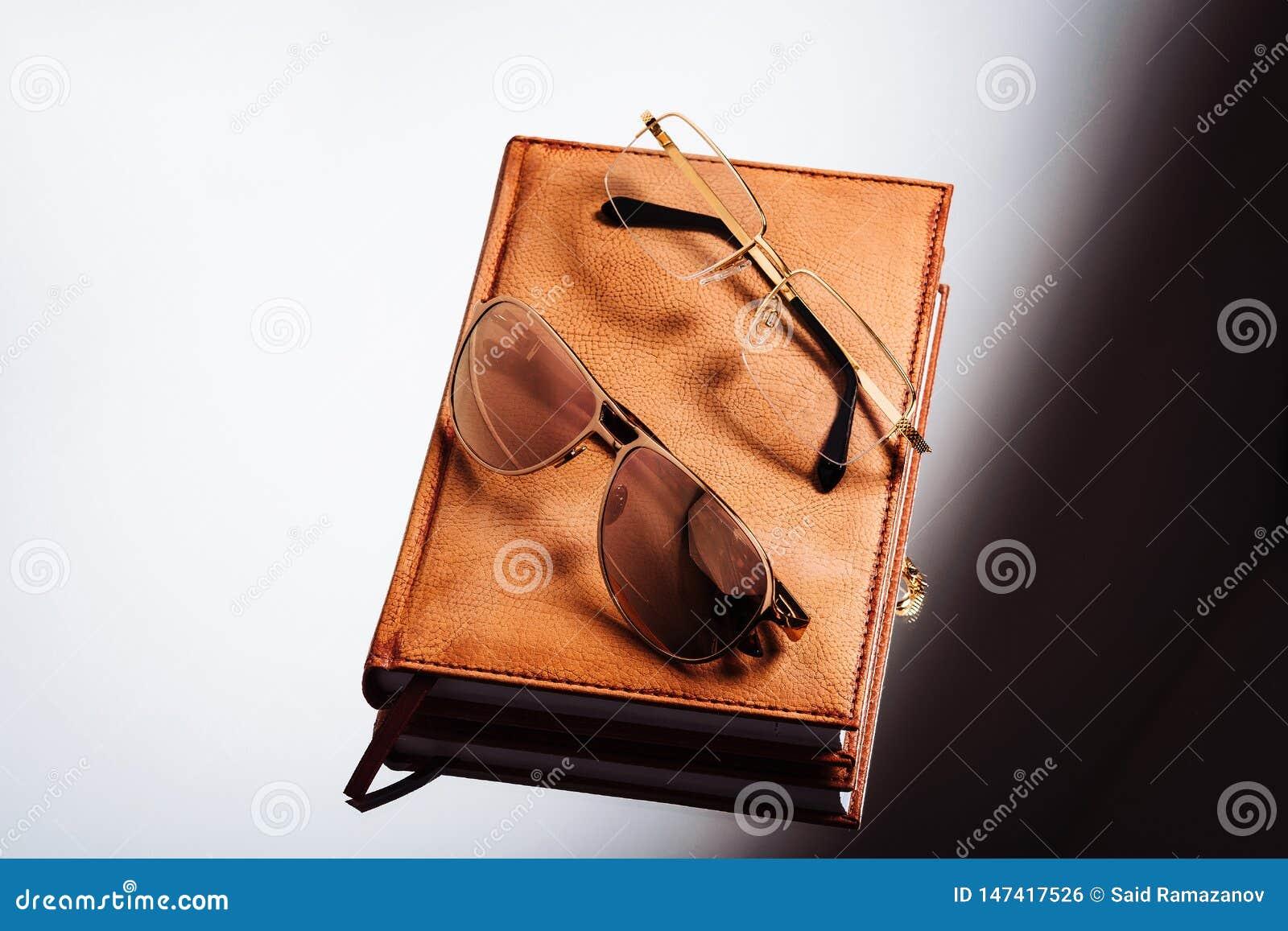 Szkła i rzemienny notatnik na lekkim tle