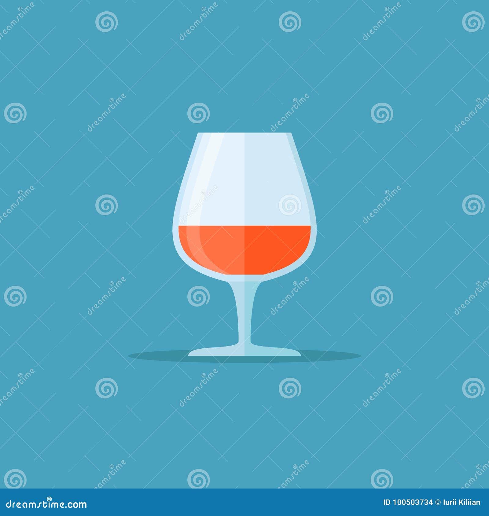 Szkło koniaka lub brandy mieszkania stylu ikona również zwrócić corel ilustracji wektora