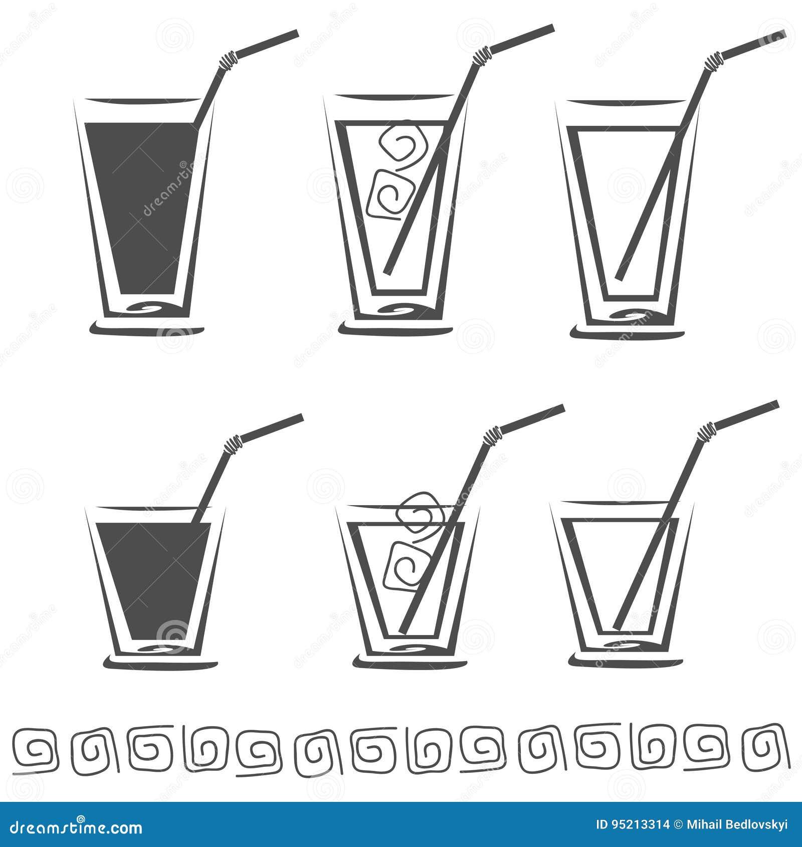 Szkło sok ikony set