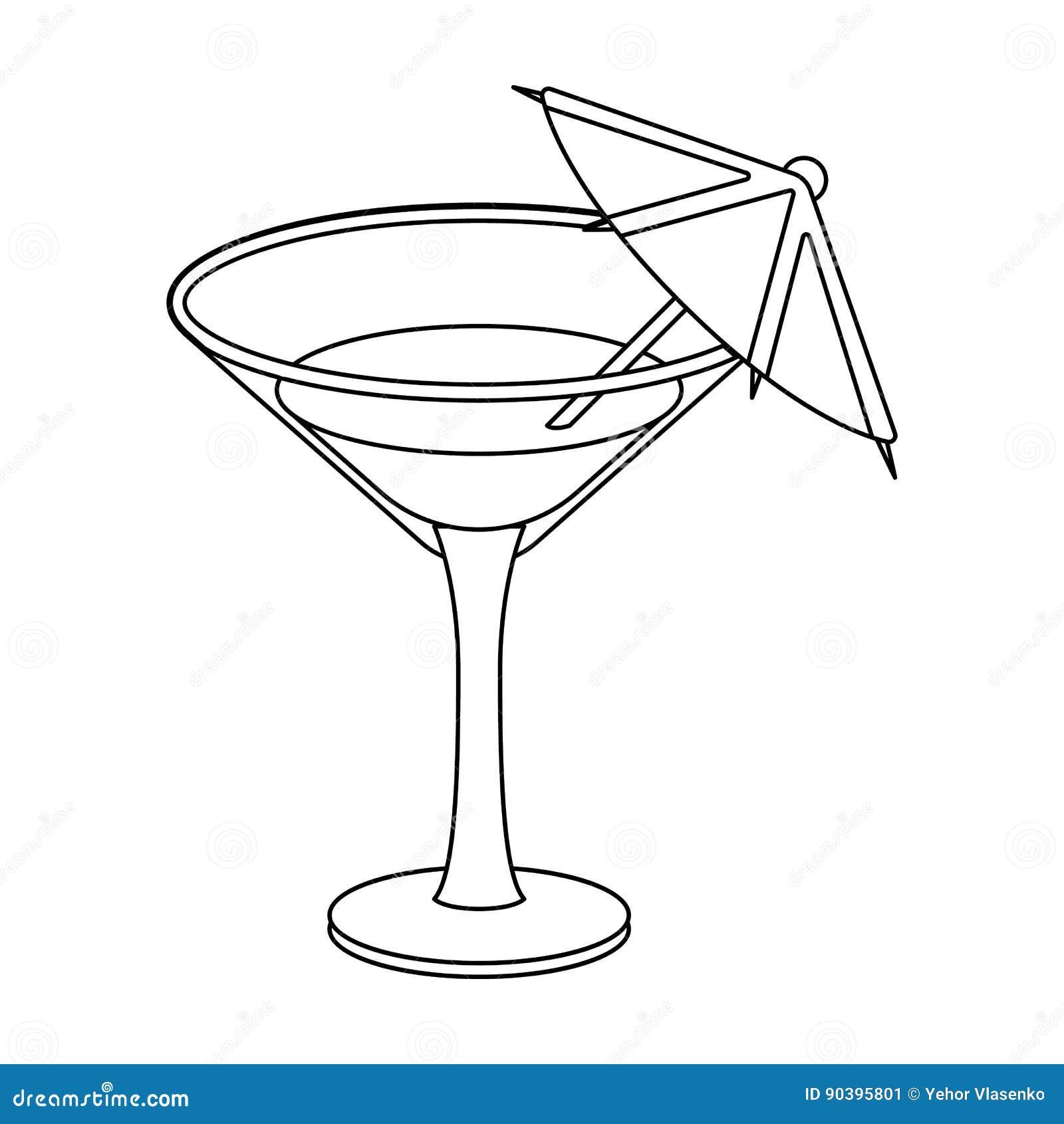 Szkło z koktajlem Przyjęcie i przyjęcia przerzedżemy ikonę w konturu stylu symbolu zapasu wektorowej ilustraci