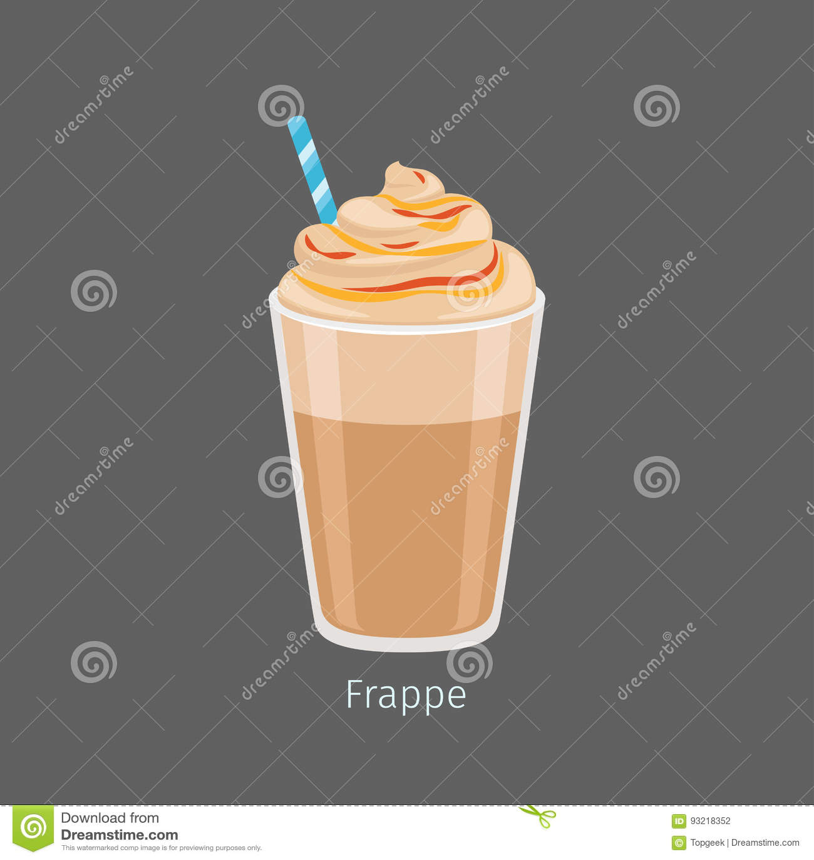 Szkło Zazębiony Frappe napoju mieszkania Kawowy wektor