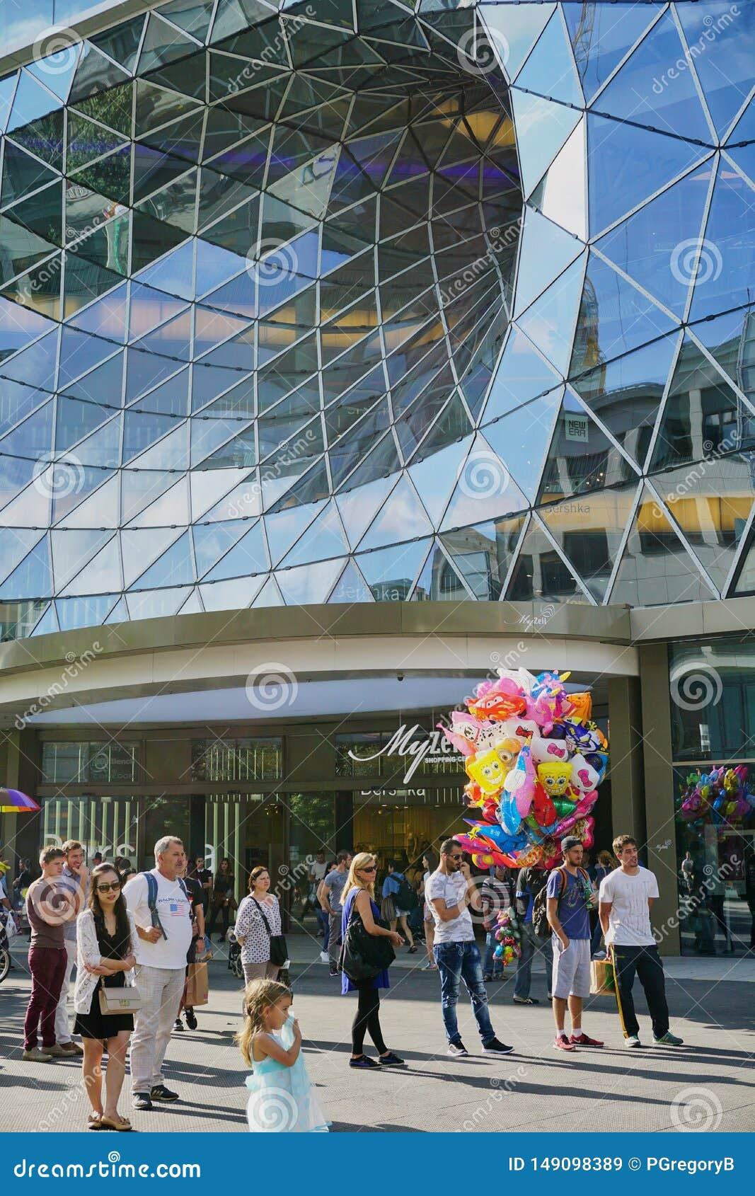 Szklana Vortex architektura w Frankfurt Niemcy