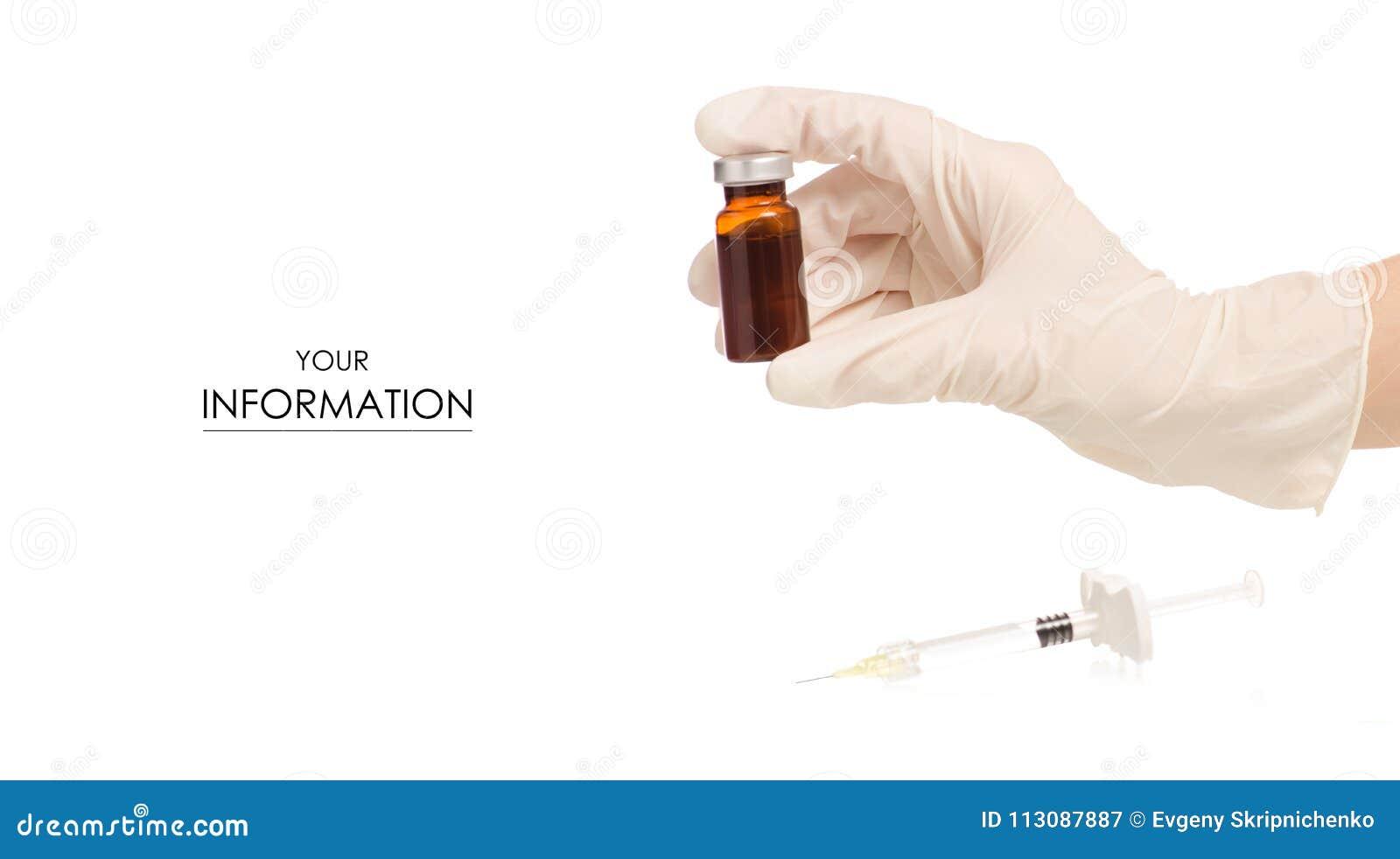 Szklany medycyny buteleczki botox lub grypa z medyczną strzykawką w ręka wzorze