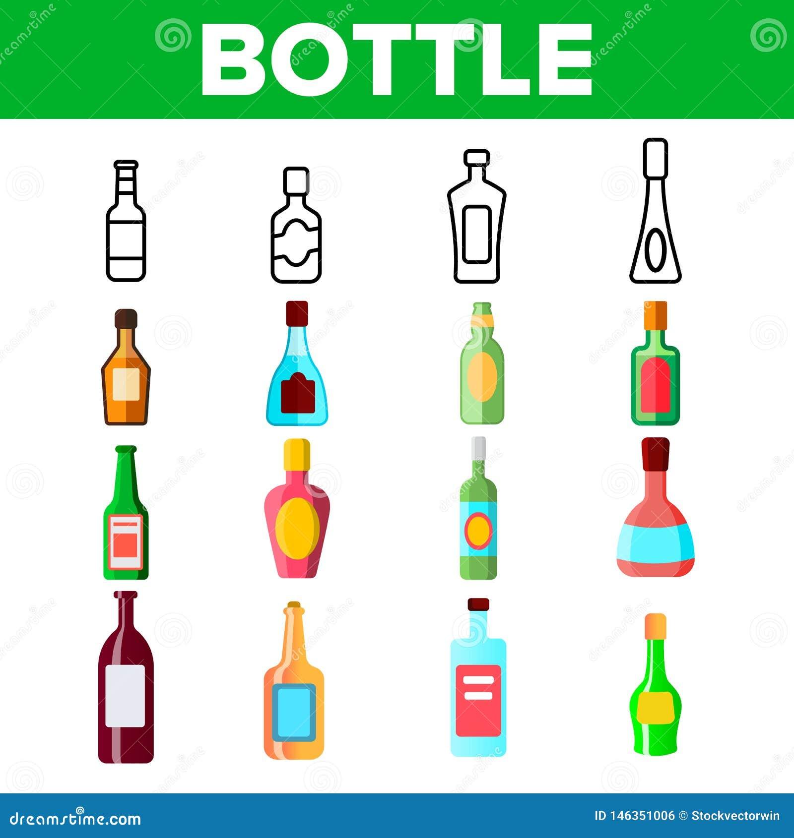 Szklanych butelek Liniowe Wektorowe ikony Ustawiać