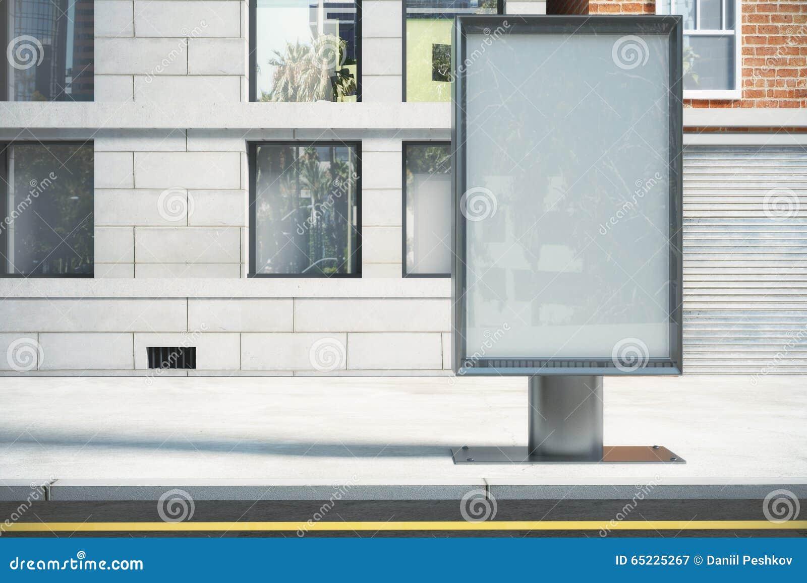 Szklisty billboard na miasto ulicie