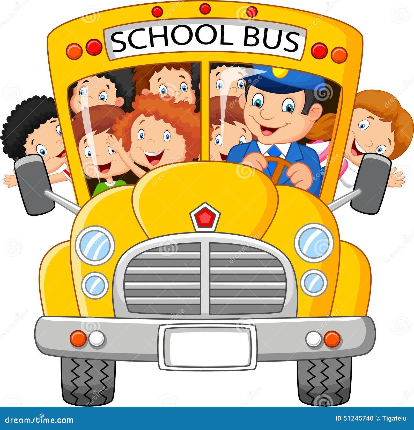 Szkoła Żartuje kreskówkę Jedzie autobus szkolnego