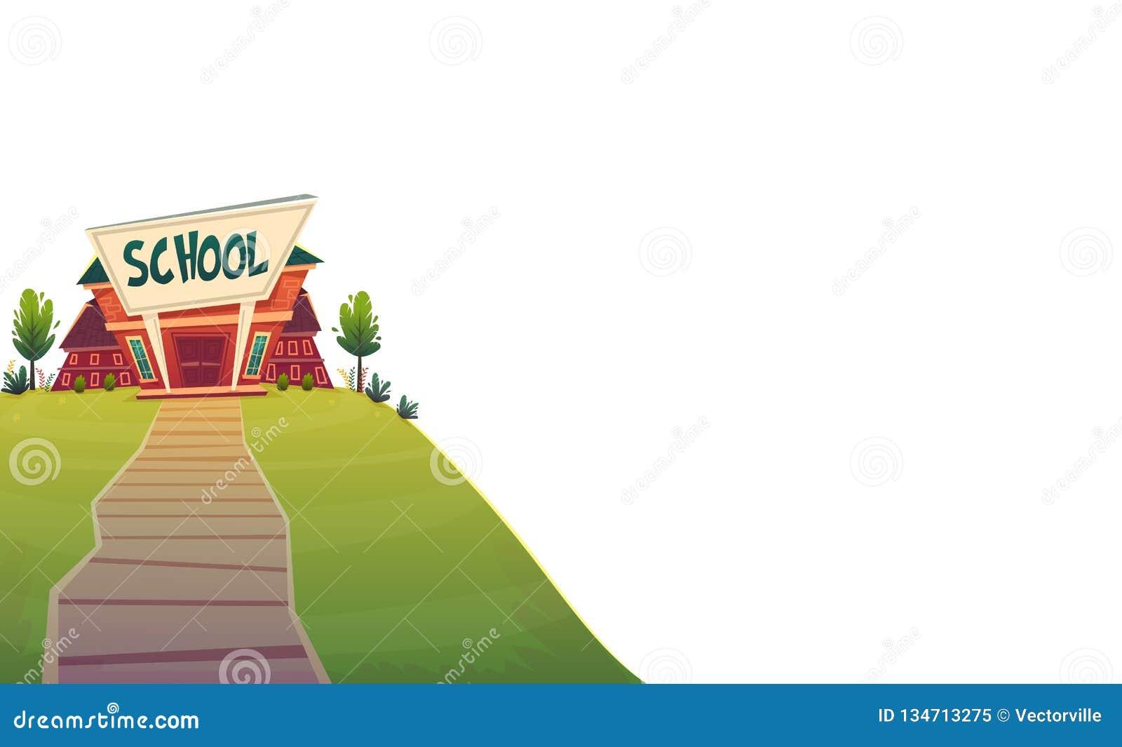 Szkoła dzień wiedzy kreskówki śmieszny tło, ciepła jesieni edukacji karty pokrywa w czerwieni zieleni jaskrawych colours odizolow