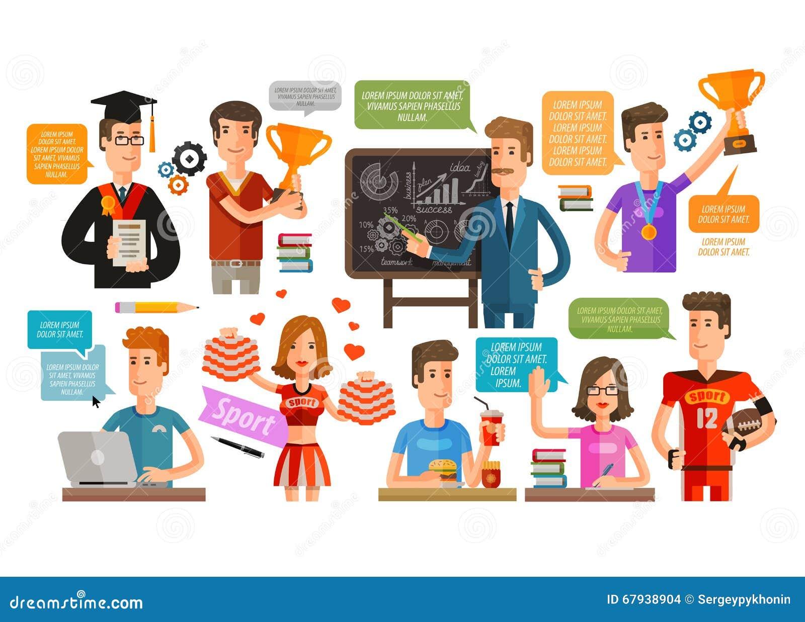 Szkoła, szkoła wyższa lub uczeń, nauczyciel ustawiający ikony również zwrócić corel ilustracji wektora