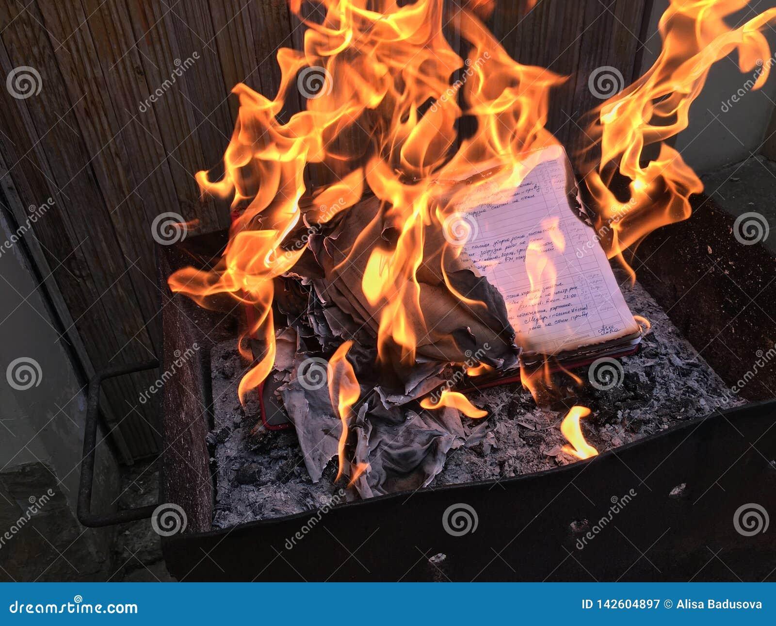 Szkolny dzienniczek z dzienna ręka pisać nutowym paleniem w pożarniczym płomieniu