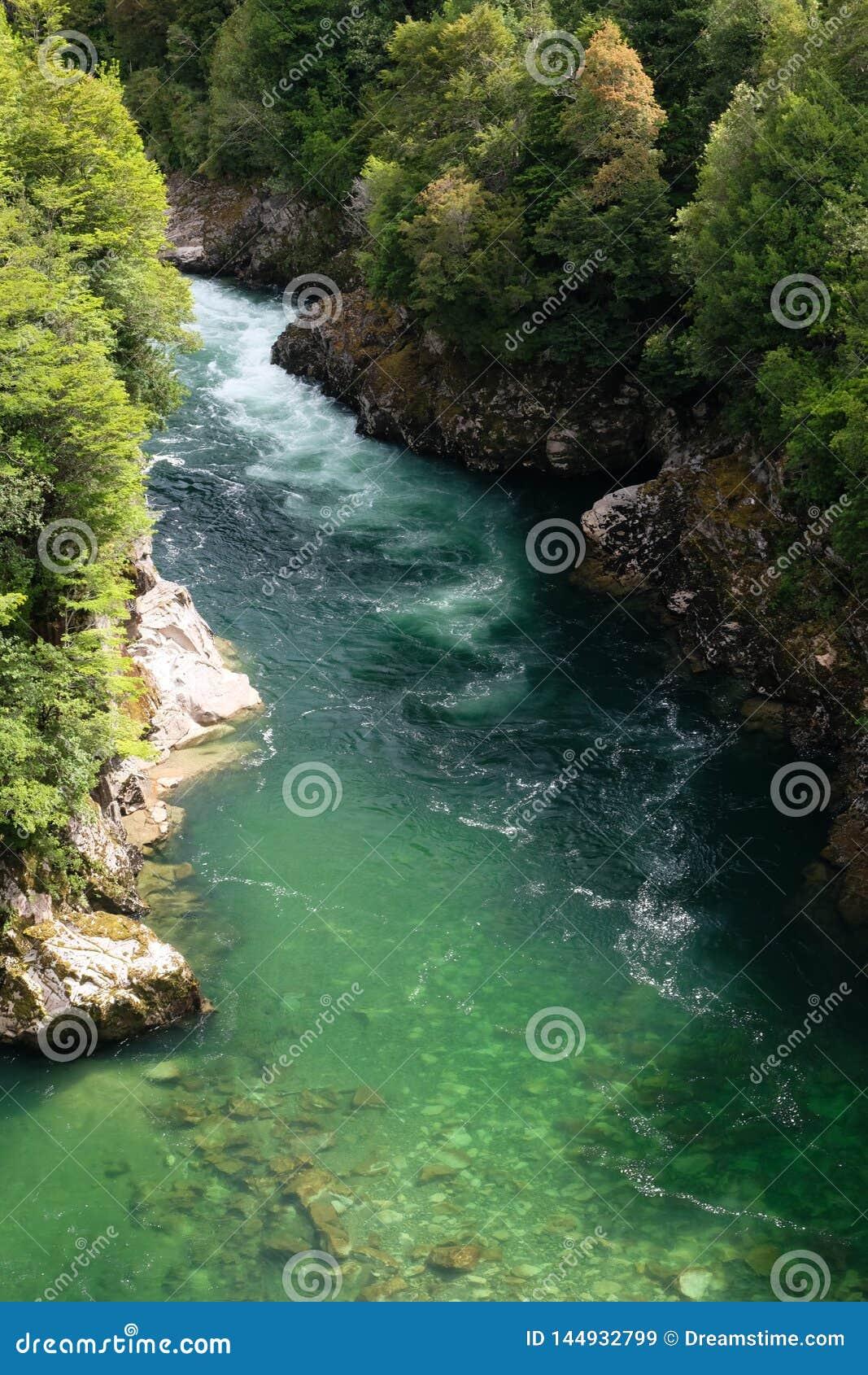 Szmaragdowej zieleni woda rzeczna w Patagonia, Chile z whitewater