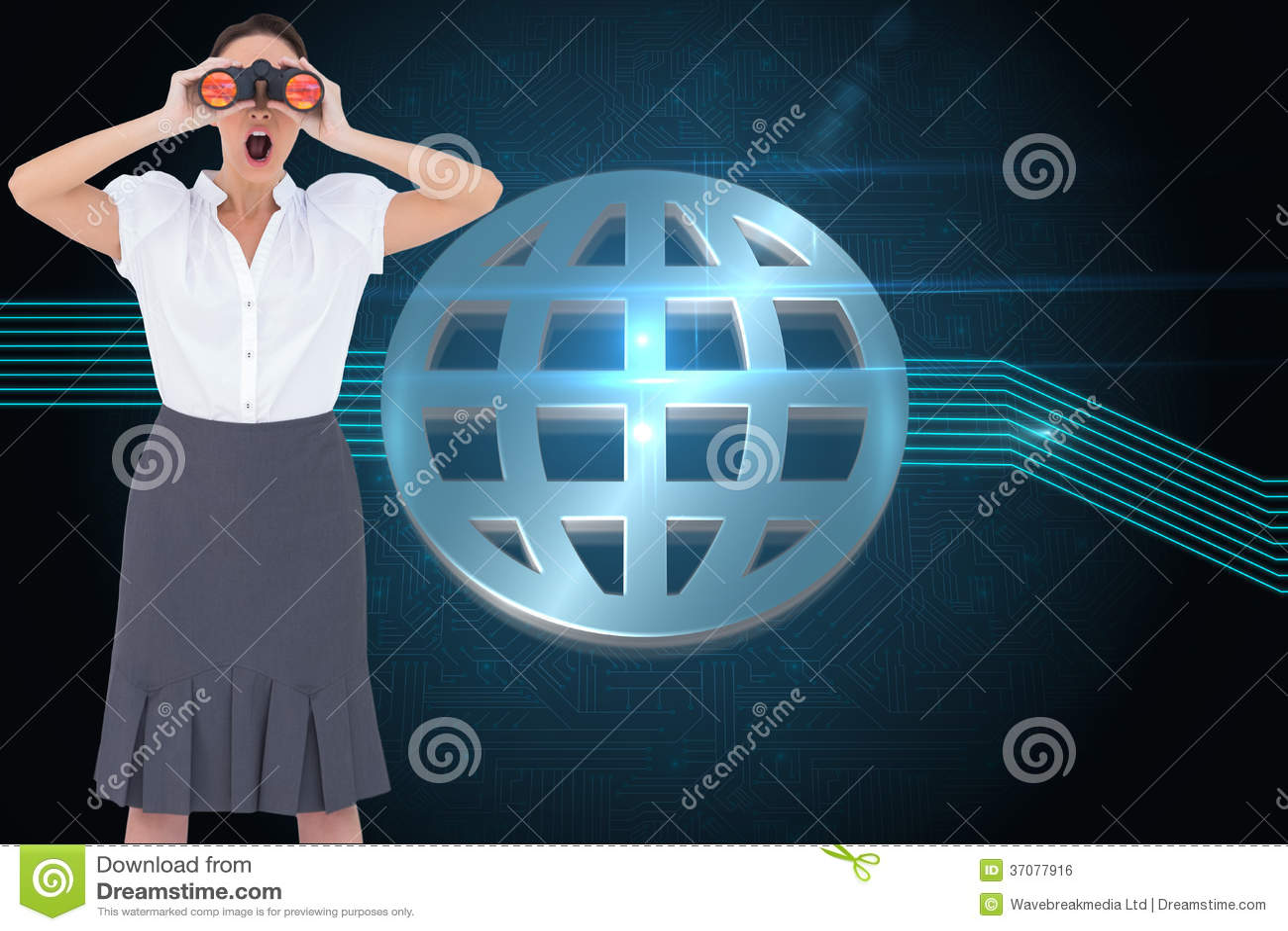 Download Szokujący Elegancki Bizneswoman Patrzeje Przez Lornetek Zdjęcie Stock - Obraz złożonej z światło, osoba: 37077916
