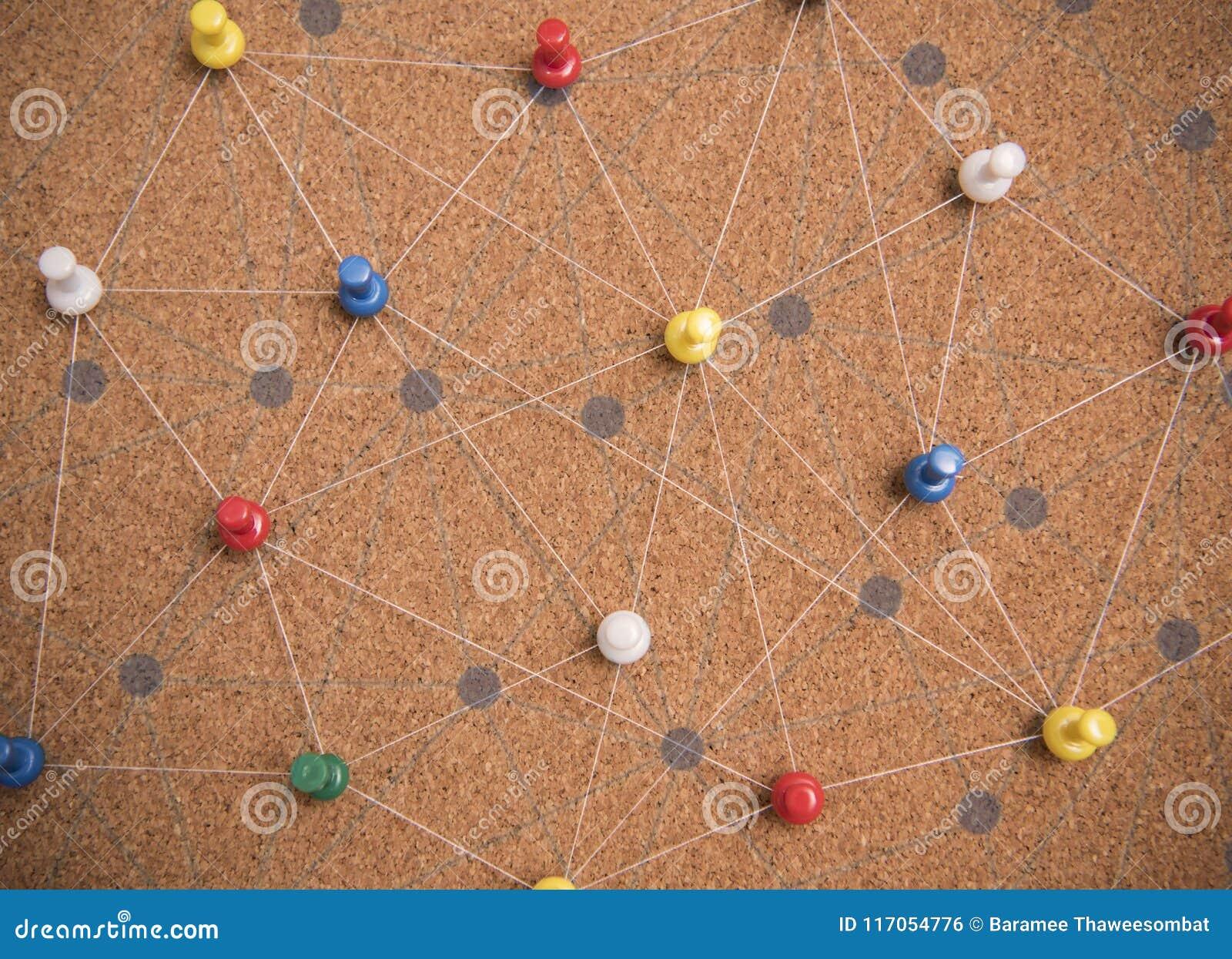 Szpilki łączyli liniowego sieci tło networking