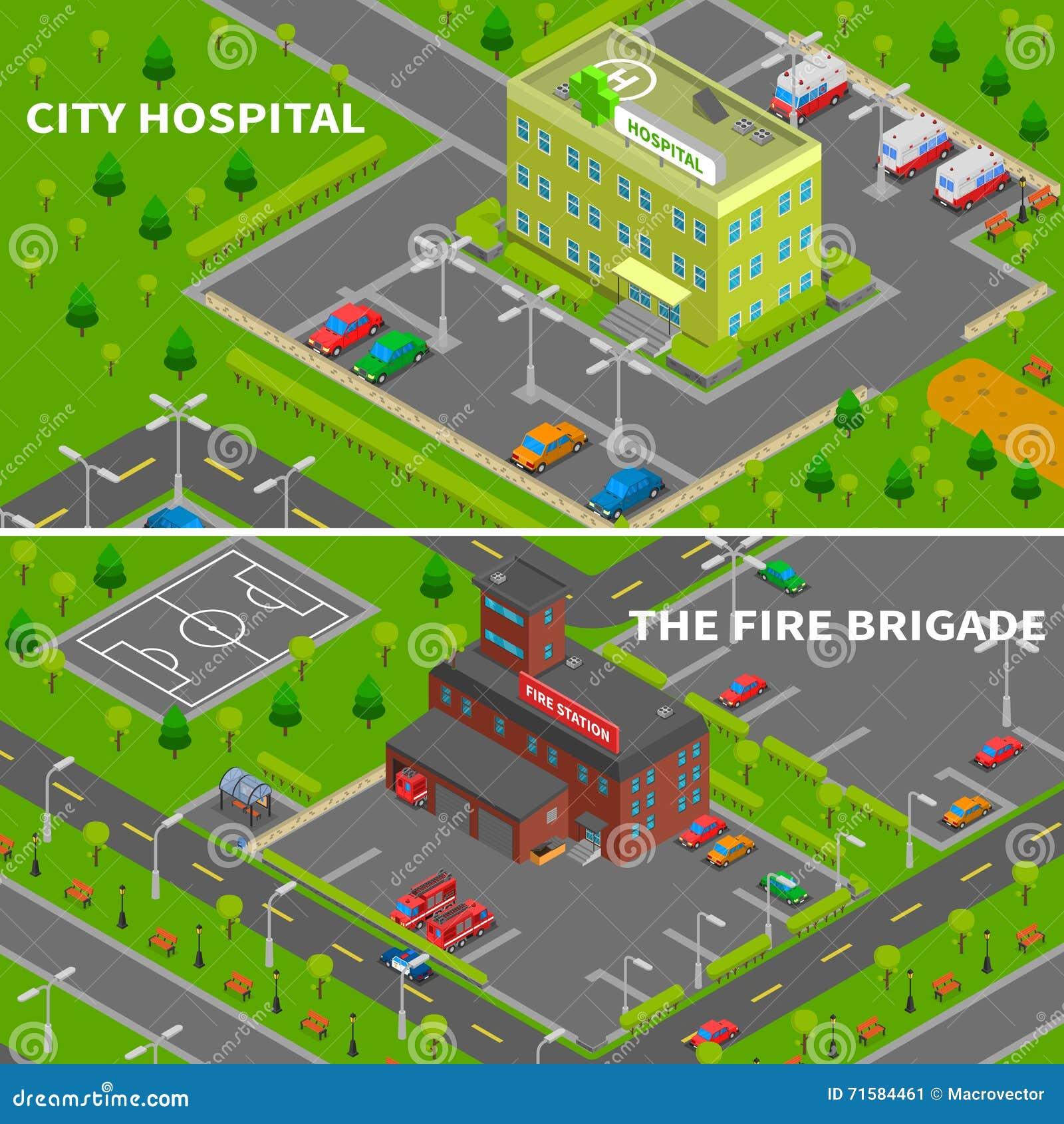 Szpitala I posterunku straży pożarnej Isometric sztandary