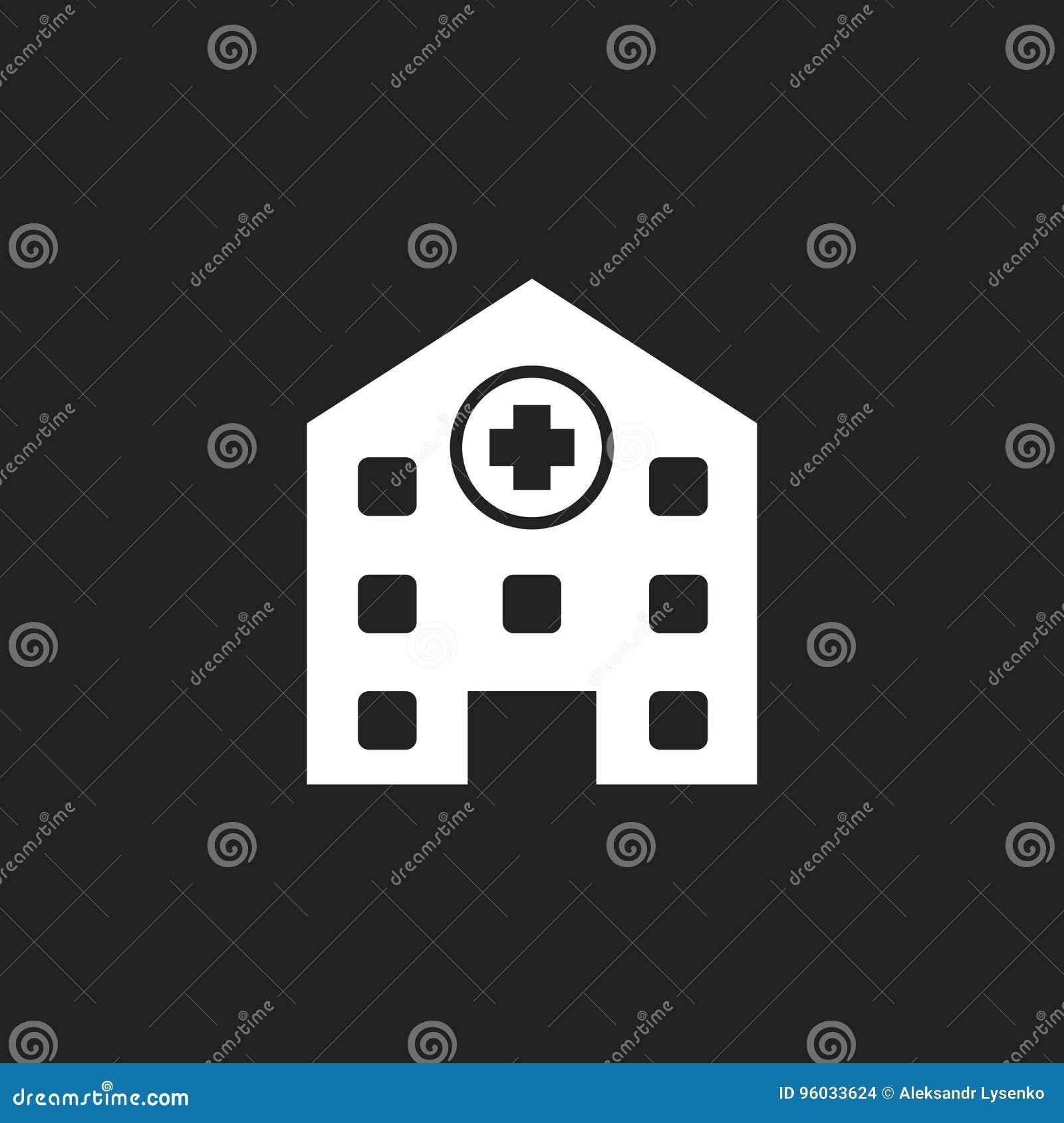 Szpitalna budynku wektoru ikona Stacjonarki medycznej kliniki znaka bolączka