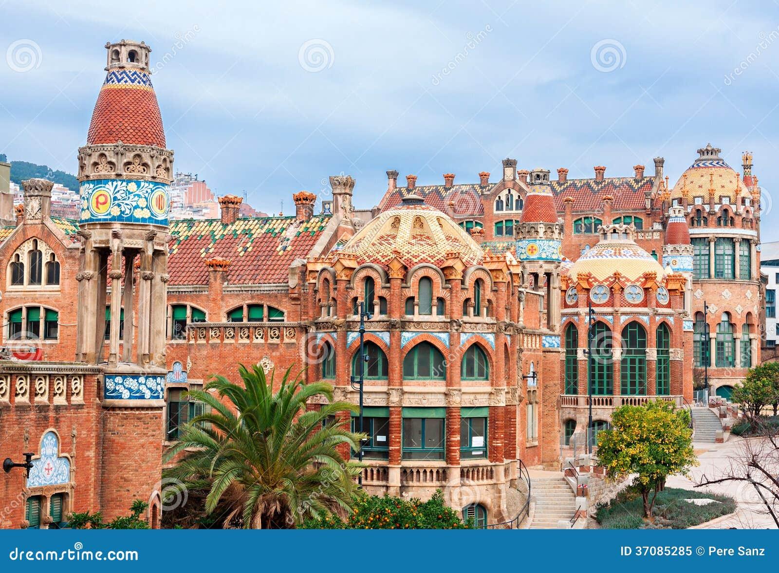 Download Szpitalny De Los Angeles Santa Creu Ja De Sant Pau Obraz Stock - Obraz złożonej z hiszpania, przyciąganie: 37085285