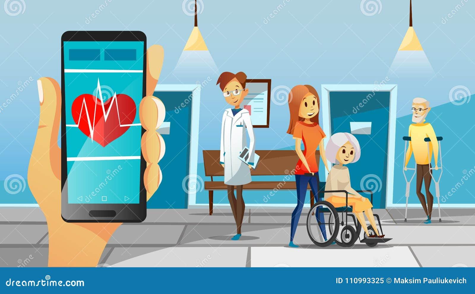 Szpitalnych i starych pacjentów wektorowa ilustracja kobieta w wózku inwalidzkim, mężczyzna na szczudle dla doktorskiej medycznej