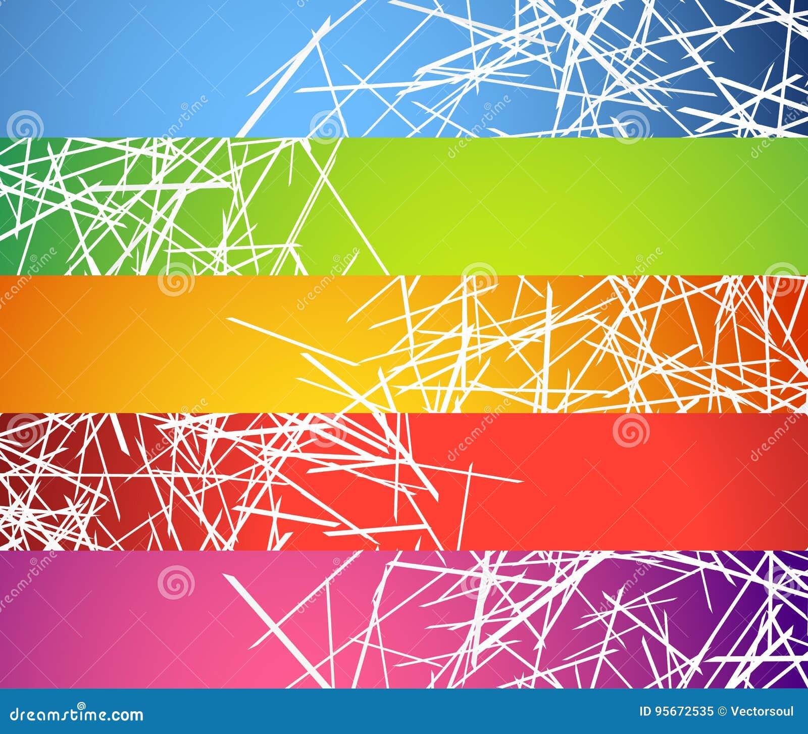 Sztandar, guzików tła z abstrakcjonistycznymi przypadkowymi, chaotycznymi liniami,