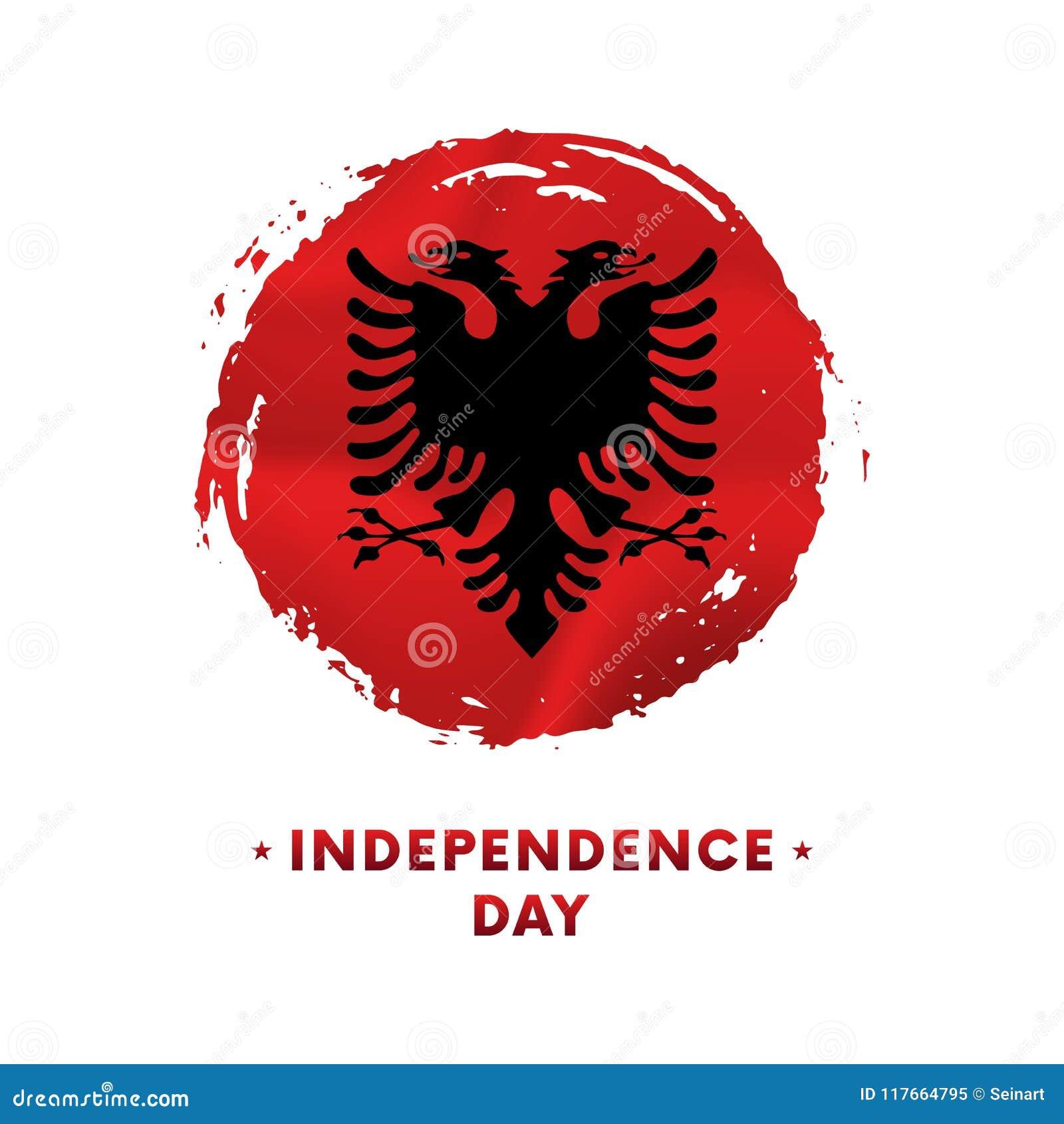 Sztandar lub plakat Albania dnia niepodległości świętowanie Machać flaga Albania, szczotkarski uderzenia tło również zwrócić core