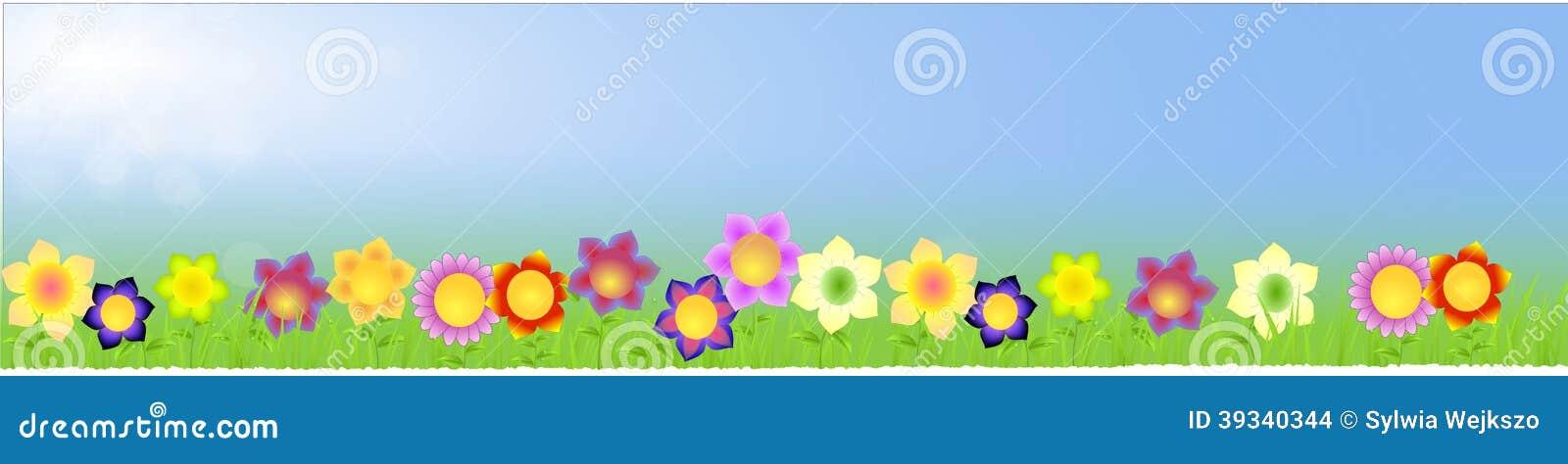 Sztandar z dużymi kwiatami na wiosny tle