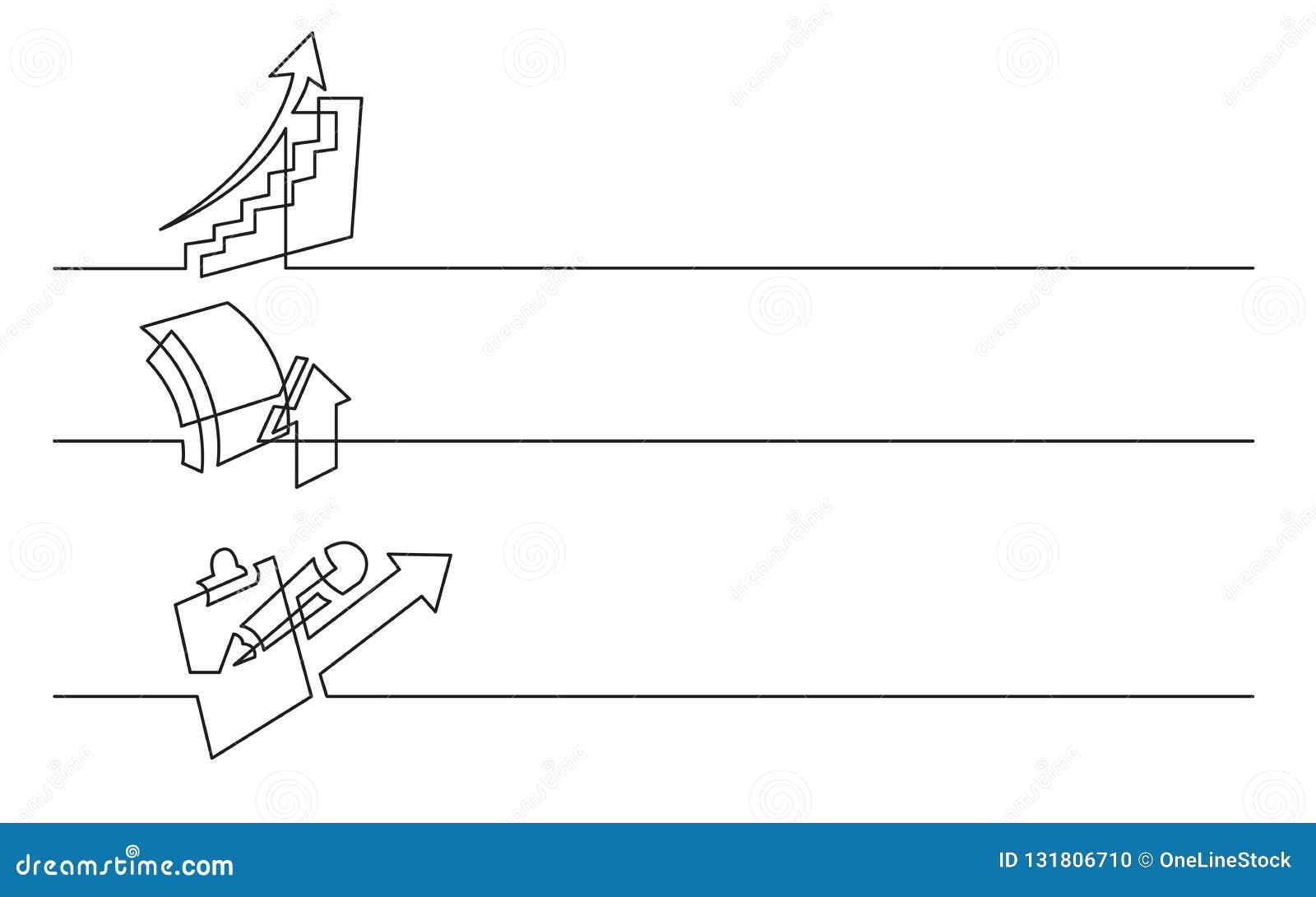 Sztandaru projekt - ciągły kreskowy rysunek biznesowe ikony: powstająca mapa, wzrostowy symbol, analityka