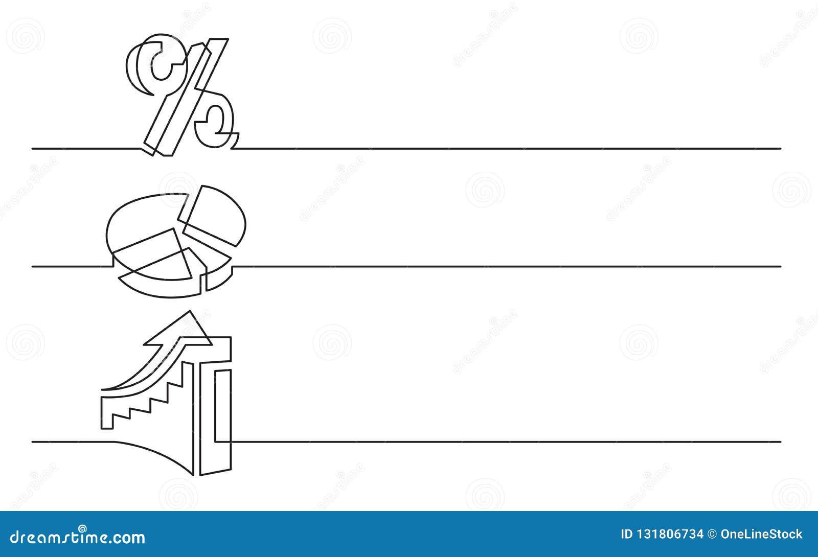Sztandaru projekt - ciągły kreskowy rysunek biznesowe ikony: procentu znak, pasztetowa mapa, powstający diagram