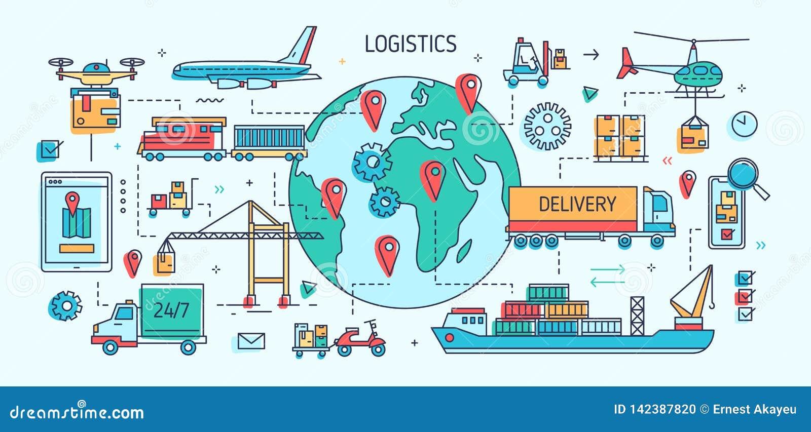 Sztandaru szablon z frachtowymi pojazdami i naczyniami niesie towary Ładunku transport, handel międzynarodowy i dostawa,