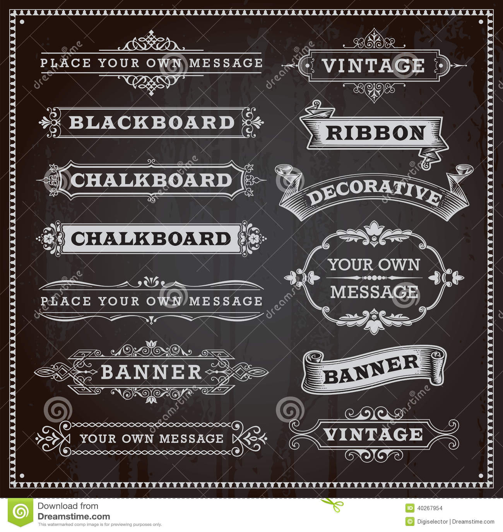 Sztandary, ramy i faborki, chalkboard styl