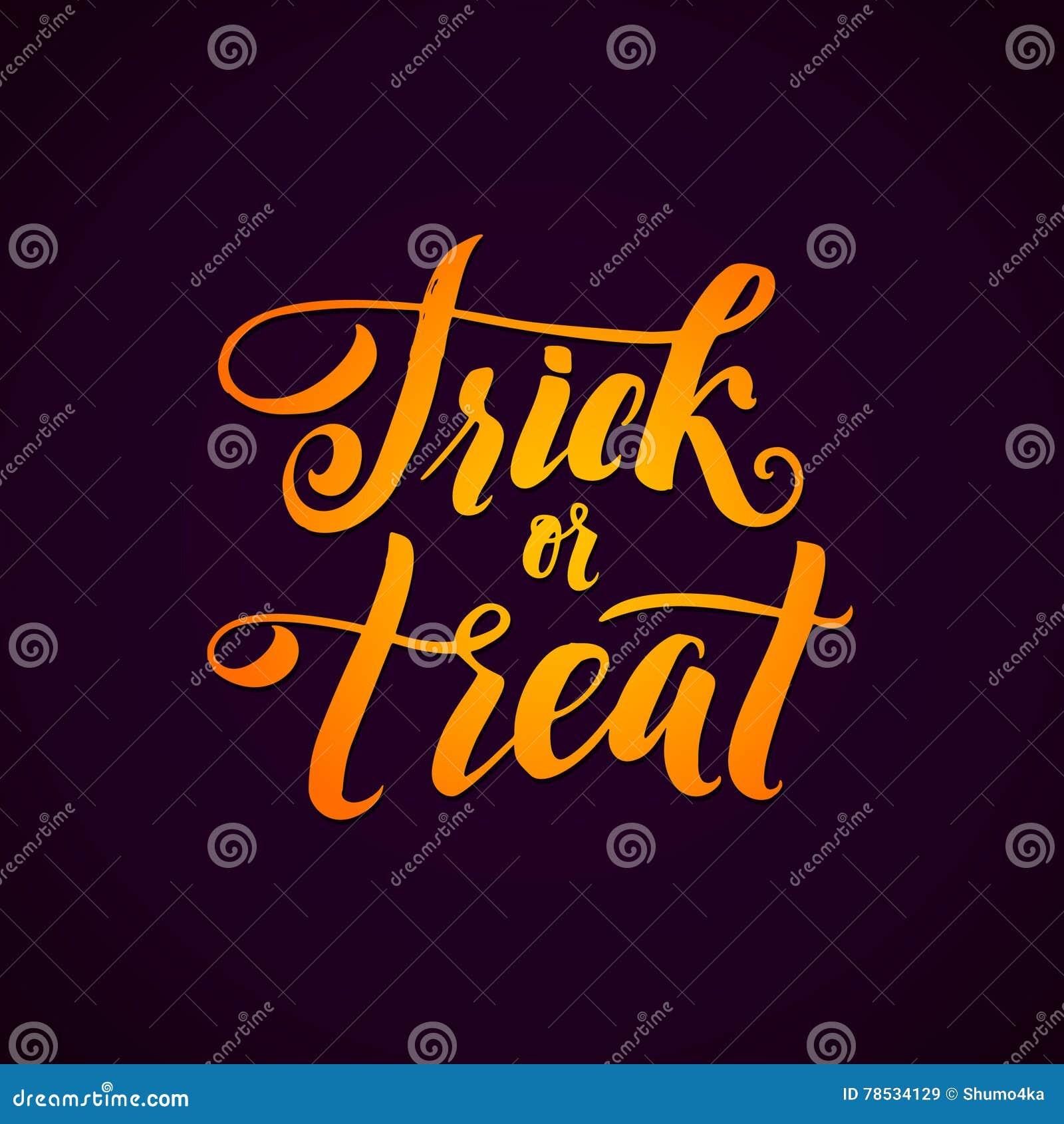 Sztuczka przysmaki Halloween przyjęcia Wektorowy tło z ręki literowaniem