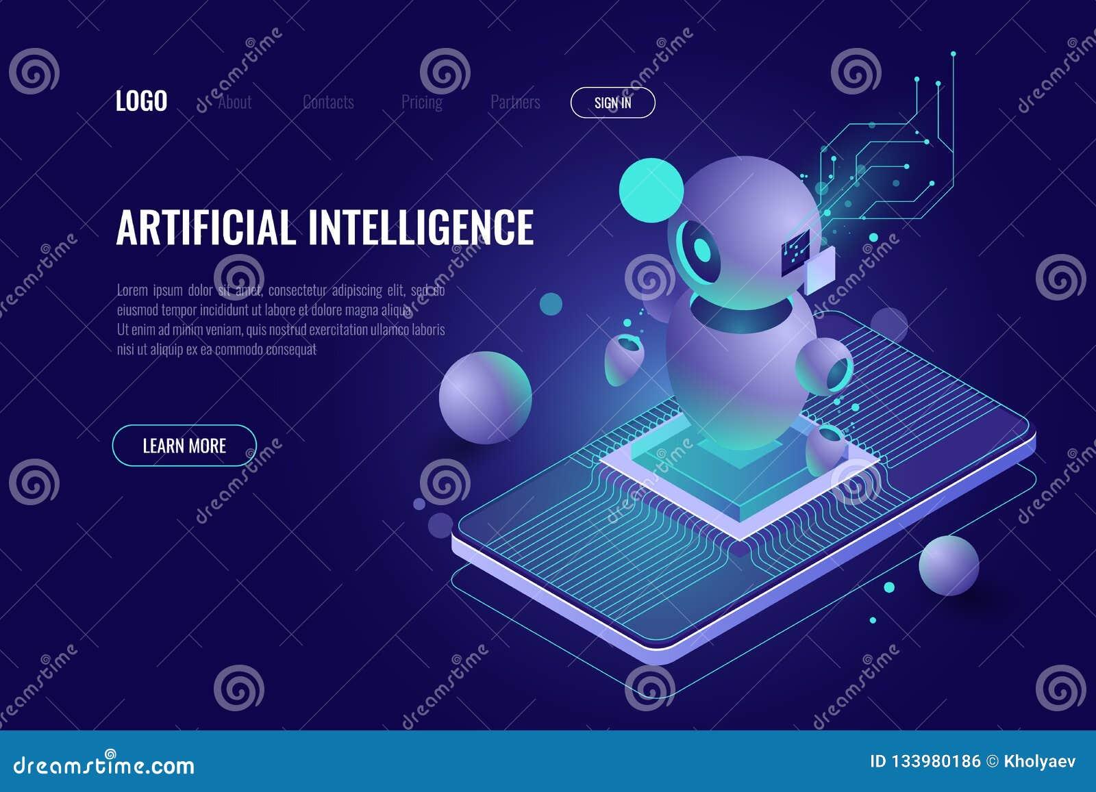 Sztuczna inteligencja ai isometric, robot technologia, mądrze dane i analiza, - przetwarzający, telefonu komórkowego zastosowanie