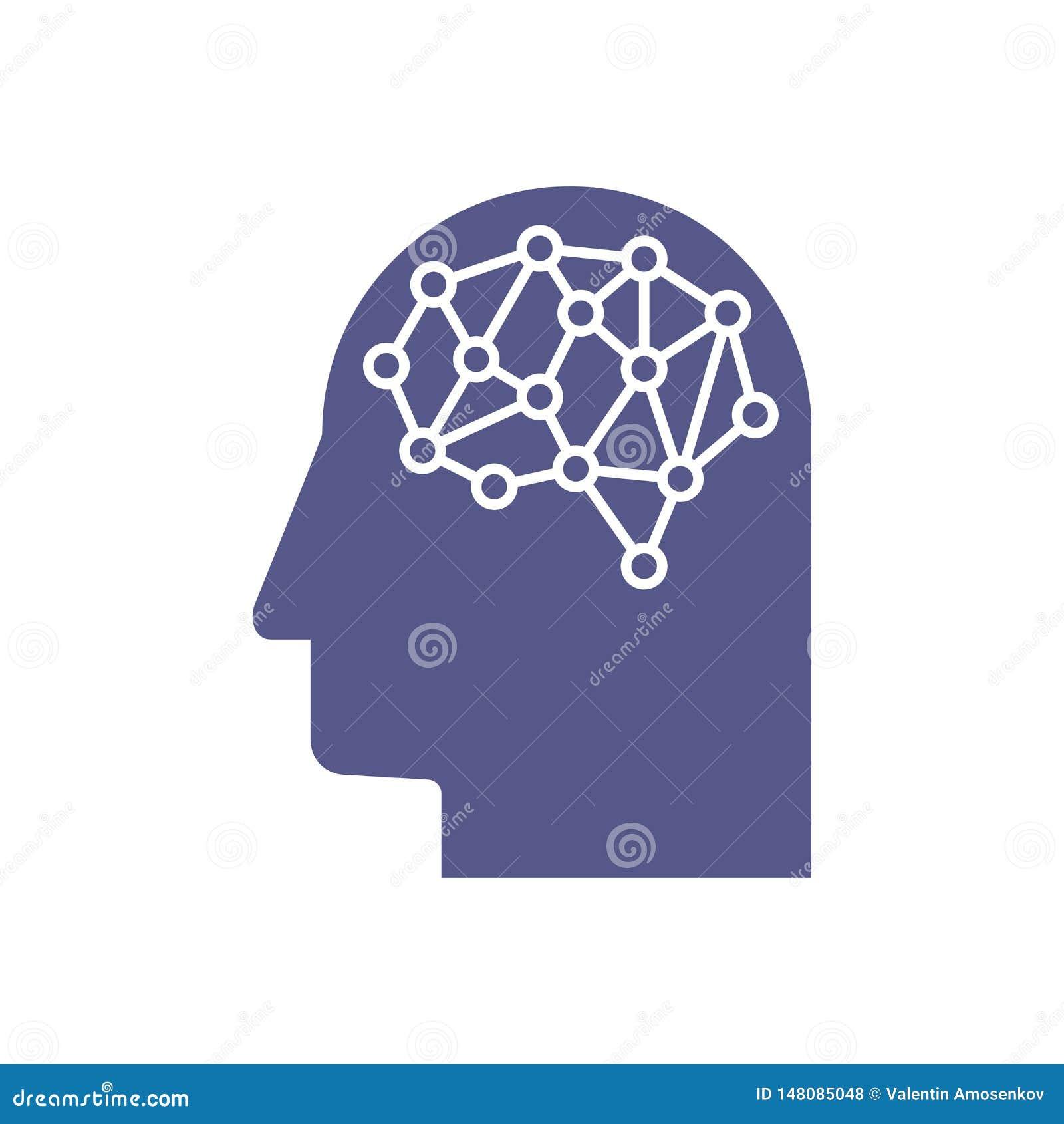 Sztuczna inteligencja Wizerunek ludzkiej g?owy kontury, w?rodku z czego tam? jest abstrakcjonistyczny obwodu deska