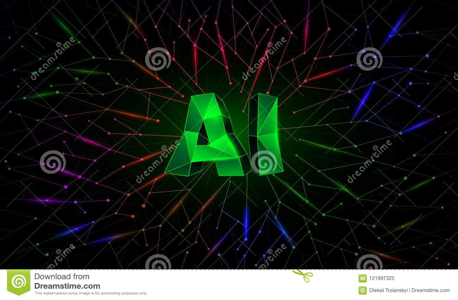 Sztucznej inteligenci konceptualny sztandar z wielobok neural sieciami na tle