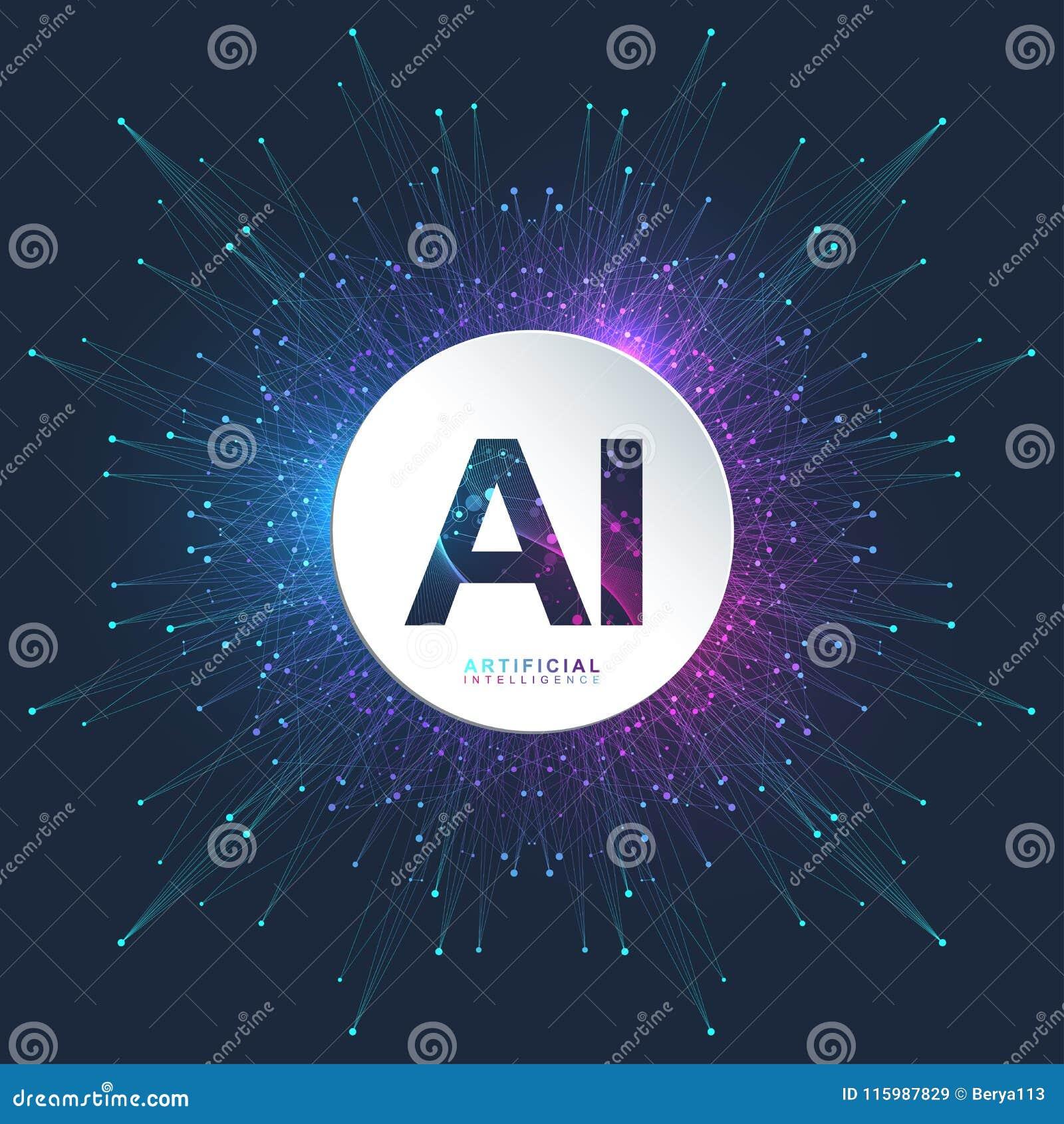 Sztucznej inteligenci logo Sztucznej inteligenci i Maszynowego uczenie pojęcie Wektorowy symbol AI Neural sieci