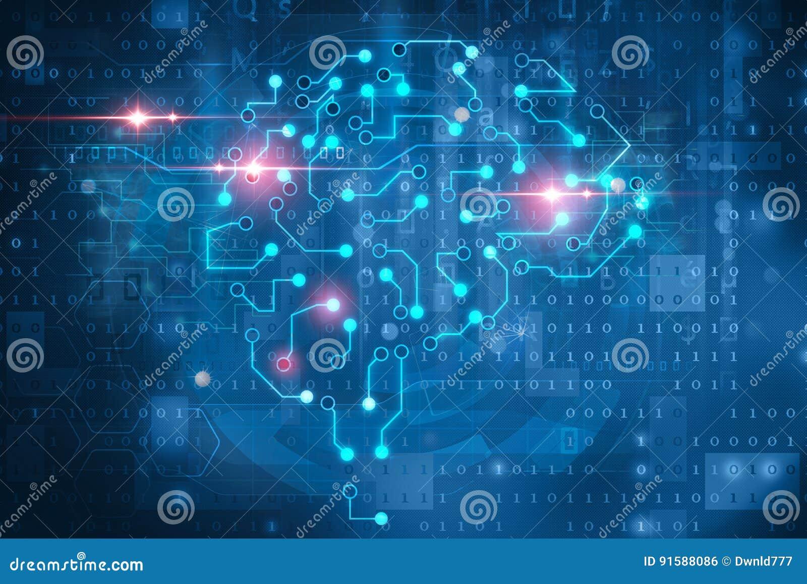 Sztucznej inteligenci mózg symbol