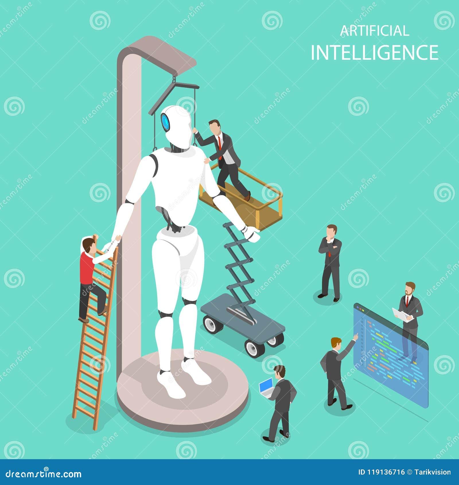 Sztucznej inteligenci płaski isometric wektor