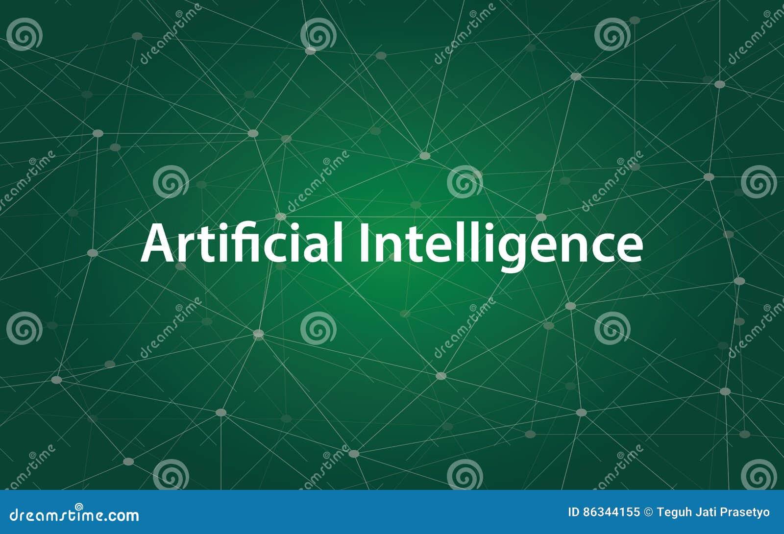 Sztucznej inteligenci tetx biała ilustracja z zieloną gwiazdozbiór mapą jako tło