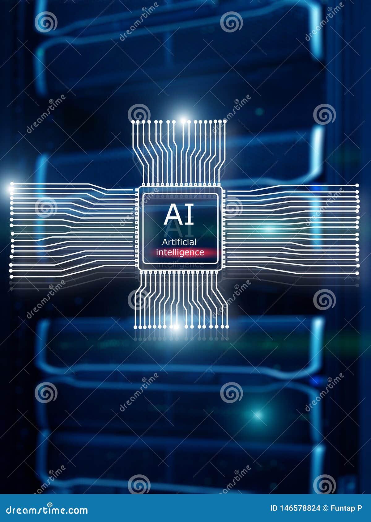 Sztucznej inteligencji przysz?o?ci technologia Sieci komunikacyjnej poj?cie Zamazany nowo?ytny datacenter t?o