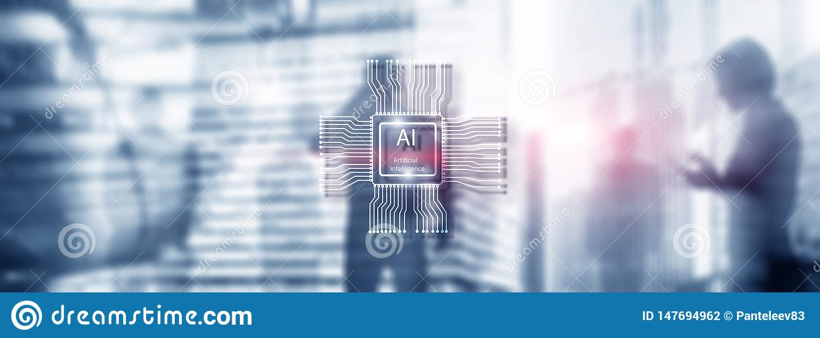 Sztucznej inteligencji przysz?o?ci technologia Zamazany abstrakcjonistyczny b??kitny t?o ludzie sylwetek