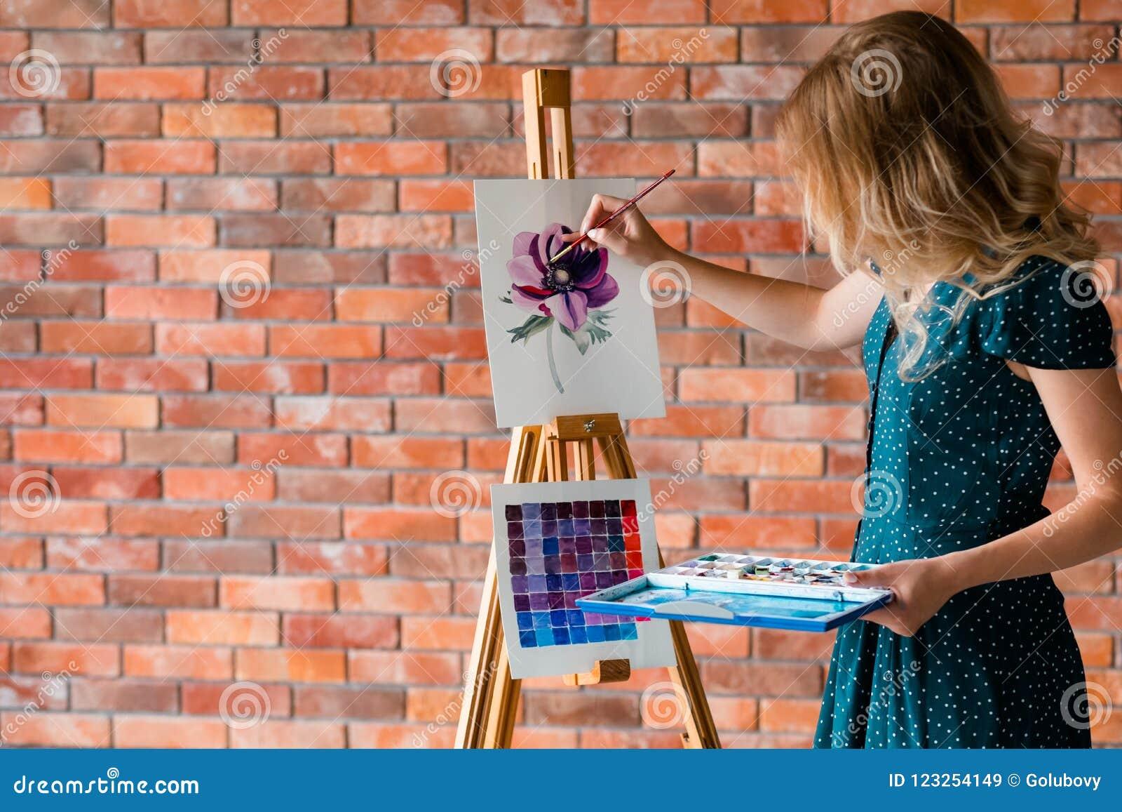 Sztuka obrazu hobby czasu wolnego dziewczyny rysunku obrazek