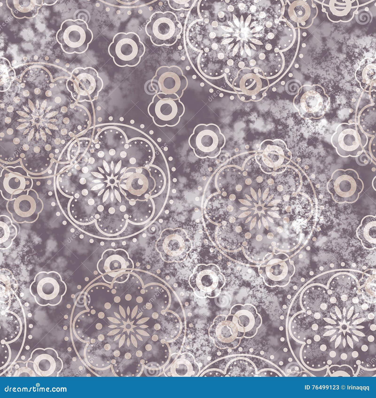 Sztuka rocznika kwiatów naiwny stylizowany geometryczny monochrom bezszwowy