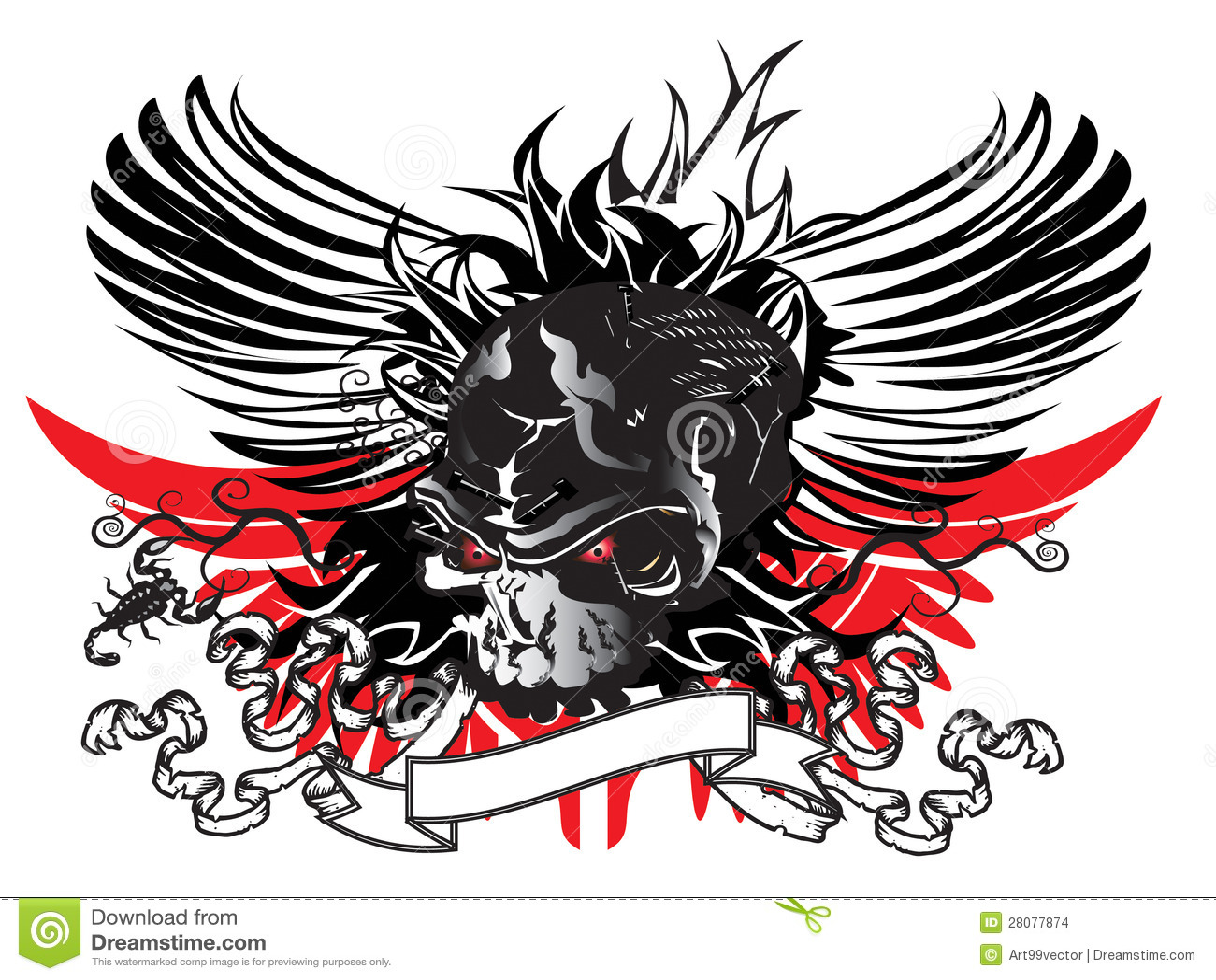 Sztuki Czaszki Wzoru Tatuaż Ilustracji Ilustracja Złożonej